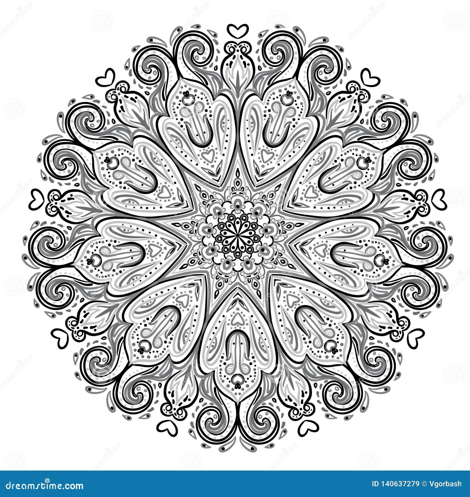 Mandala Modèle rond de beau vintage Fond abstrait tiré par la main Rétro bannière décorative d isolement Invitation, T-shirt