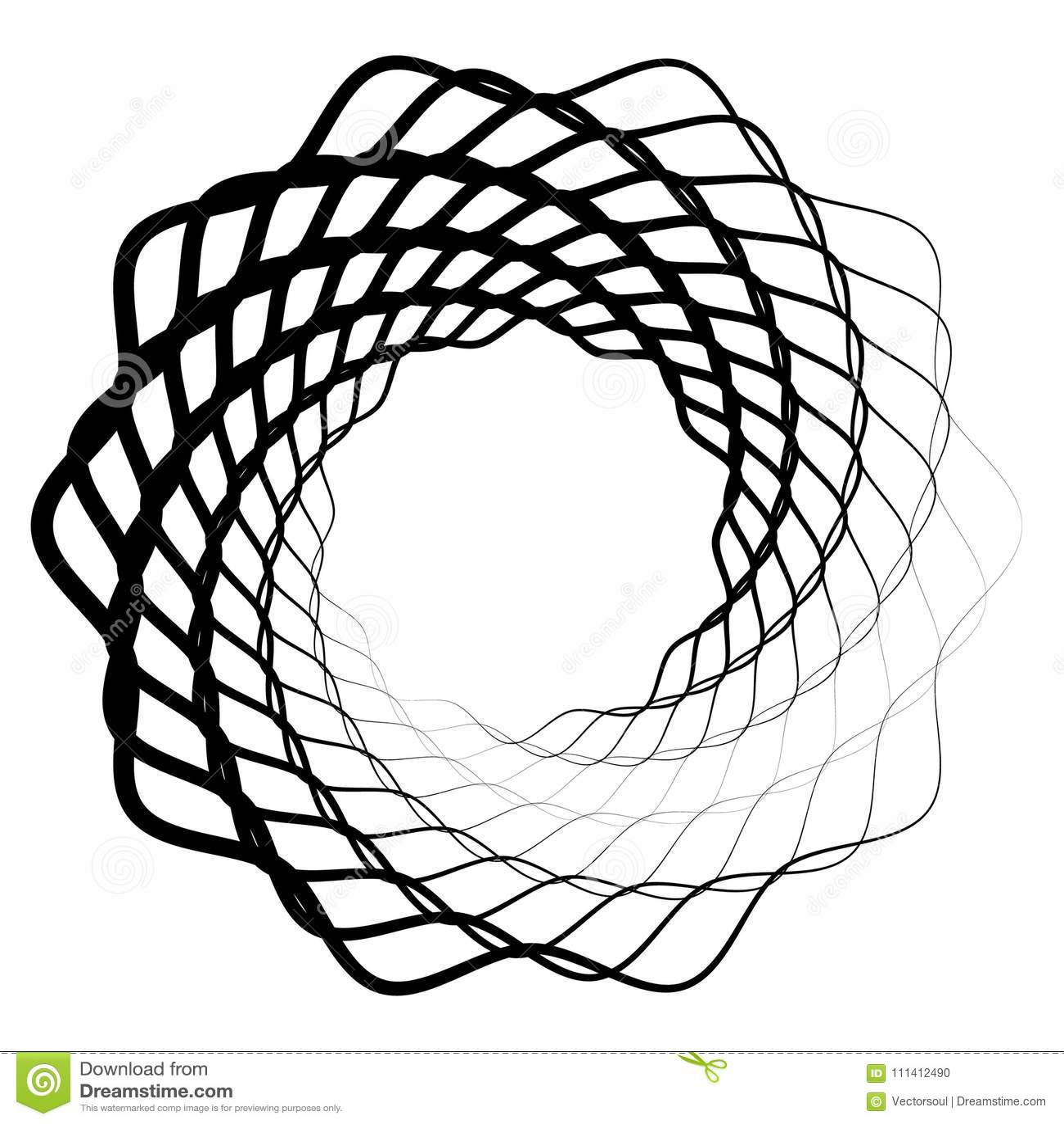 Mandala, Motif With Wavy, Zig-zag Lines Rotating Stock