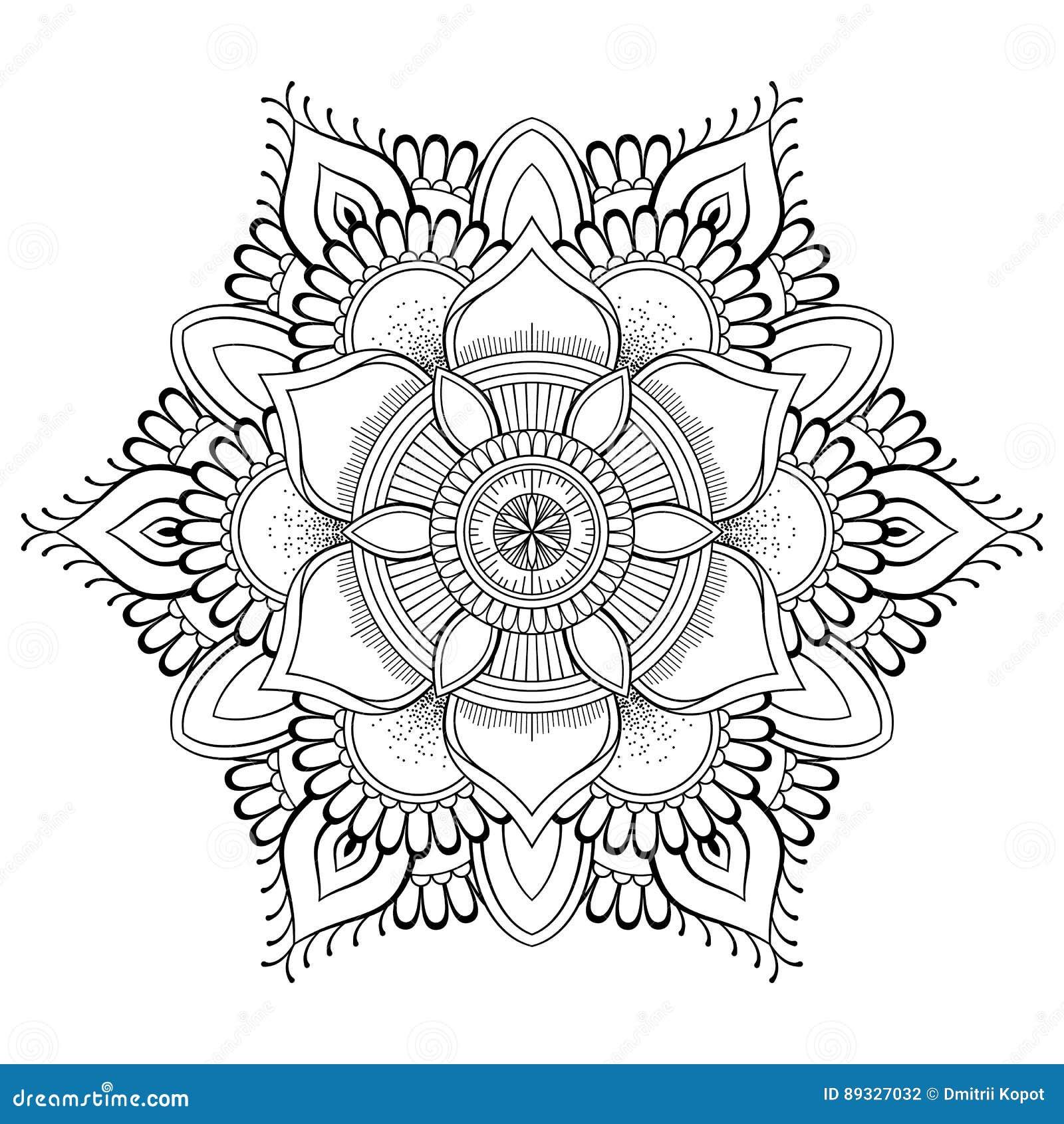 Mandala Negra De La Flor Modelo Oriental, Ejemplo Del Vector Islam ...