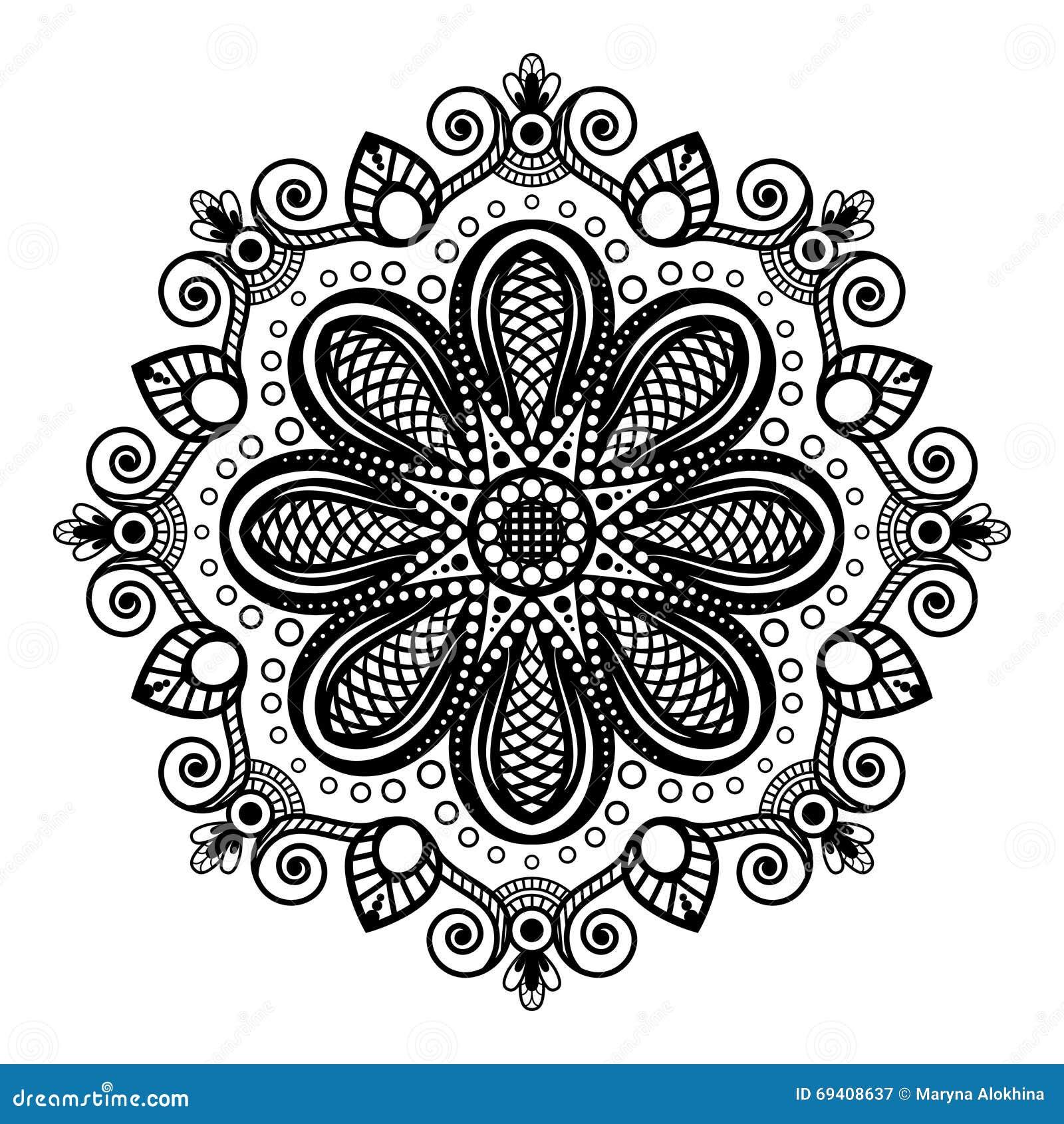 Mandala Nera Del Tatuaggio Su Fondo Bianco Nello Stile