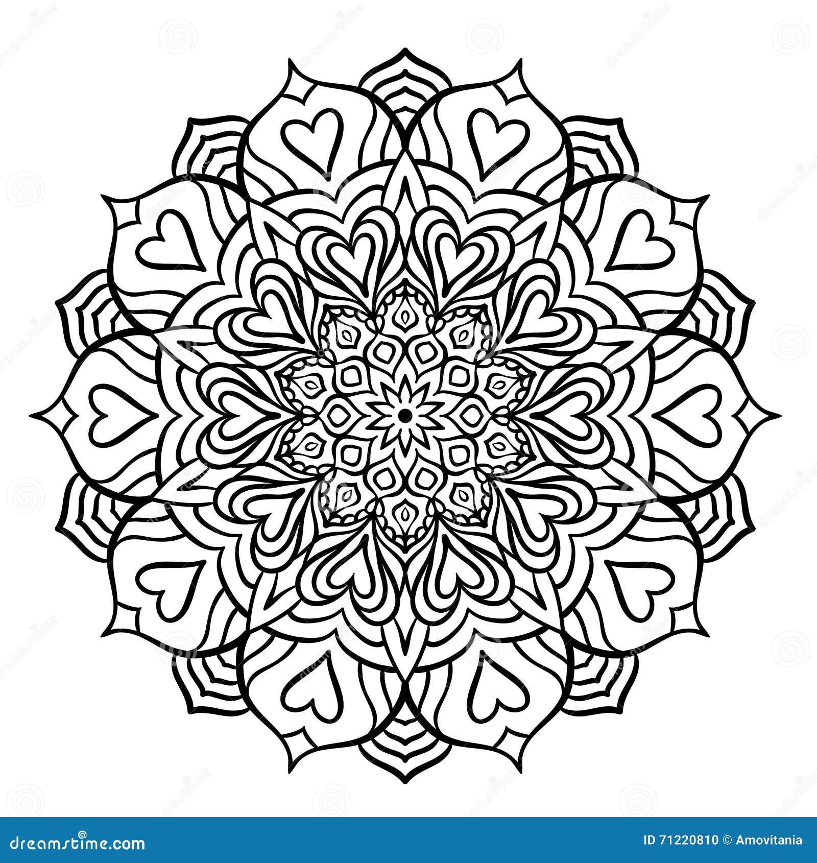 Mandala noir avec des coeurs illustration de vecteur illustration du vieux tabouret 71220810 - Mandala de coeur ...