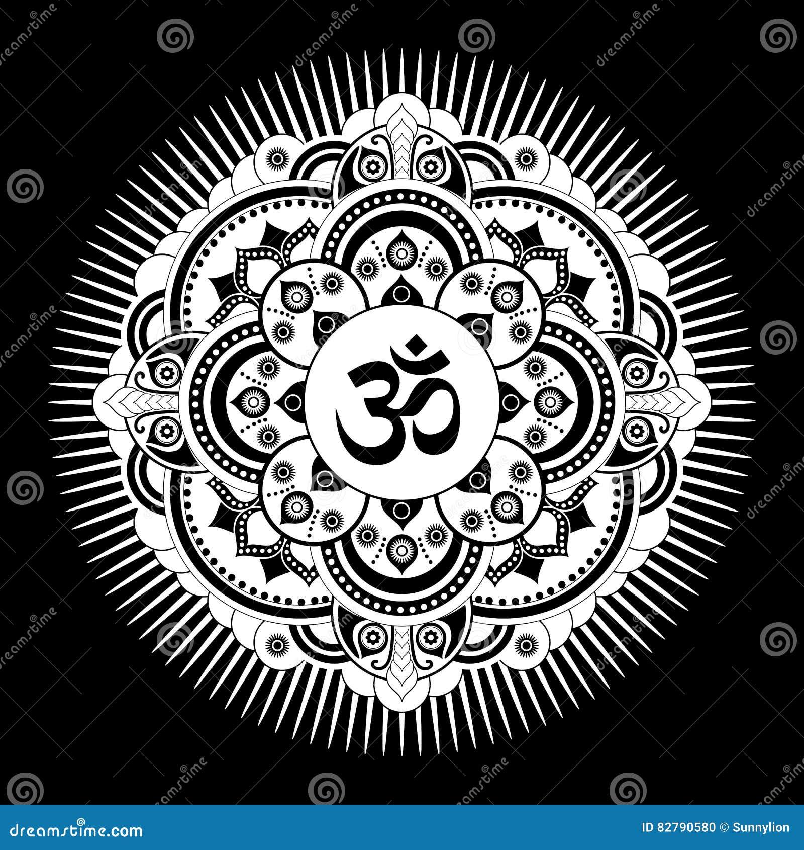 mandala noir et blanc de tatoo de henn de vecteur symbole. Black Bedroom Furniture Sets. Home Design Ideas