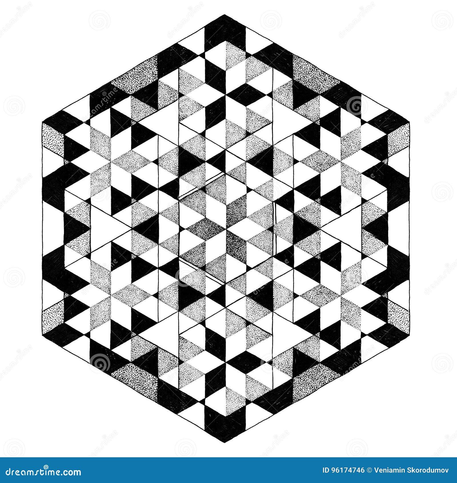 Mandala Noir Et Blanc Geometrique Modele Abstrait Tatouage