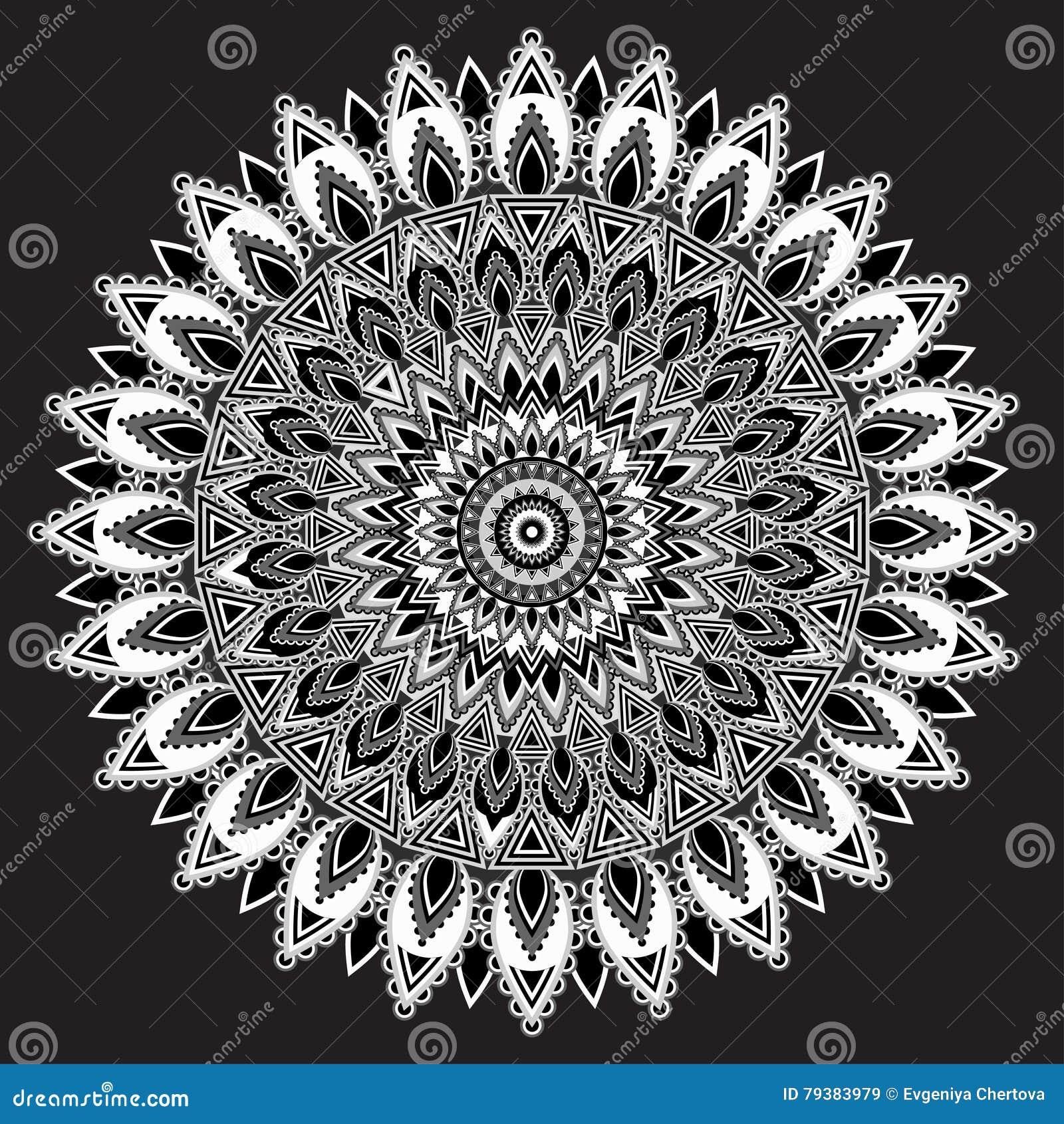 mandala noir et blanc ornement indien monochrome. Black Bedroom Furniture Sets. Home Design Ideas