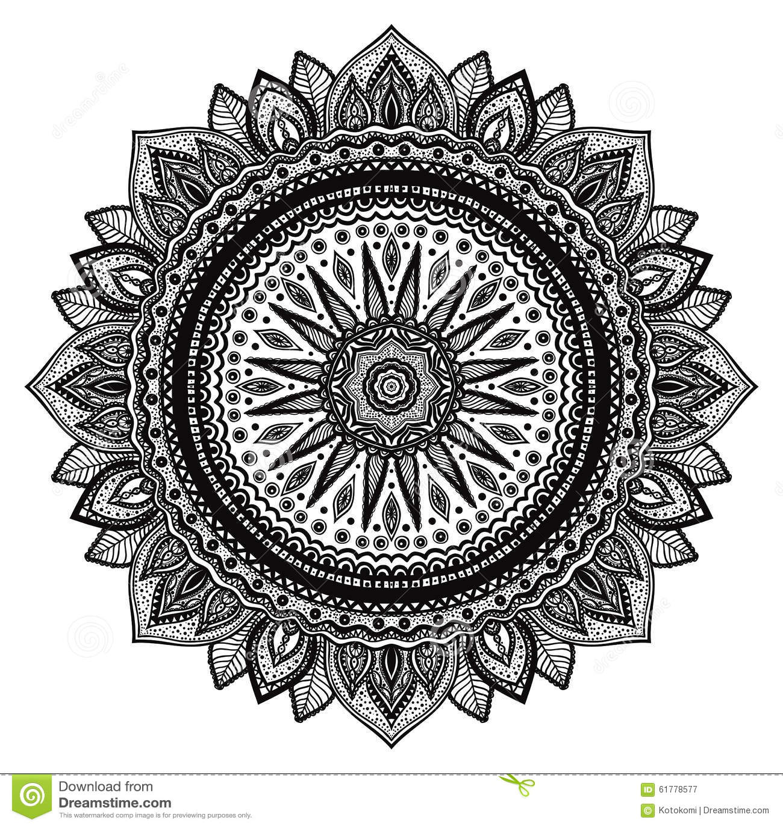 mandala noir motif indien ornement rond fleuri. Black Bedroom Furniture Sets. Home Design Ideas