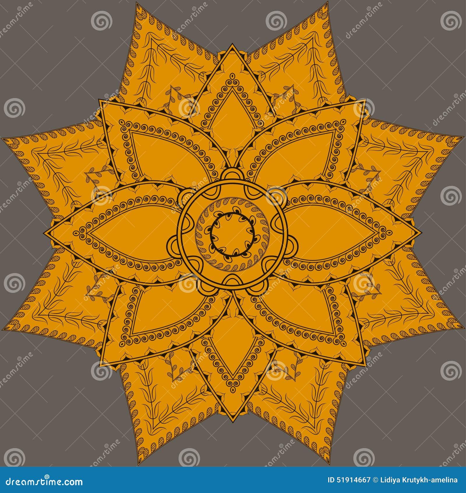 Mandala ornamentado indiana Teste padrão redondo do laço do Doily, fundo do círculo com muitos detalhes,