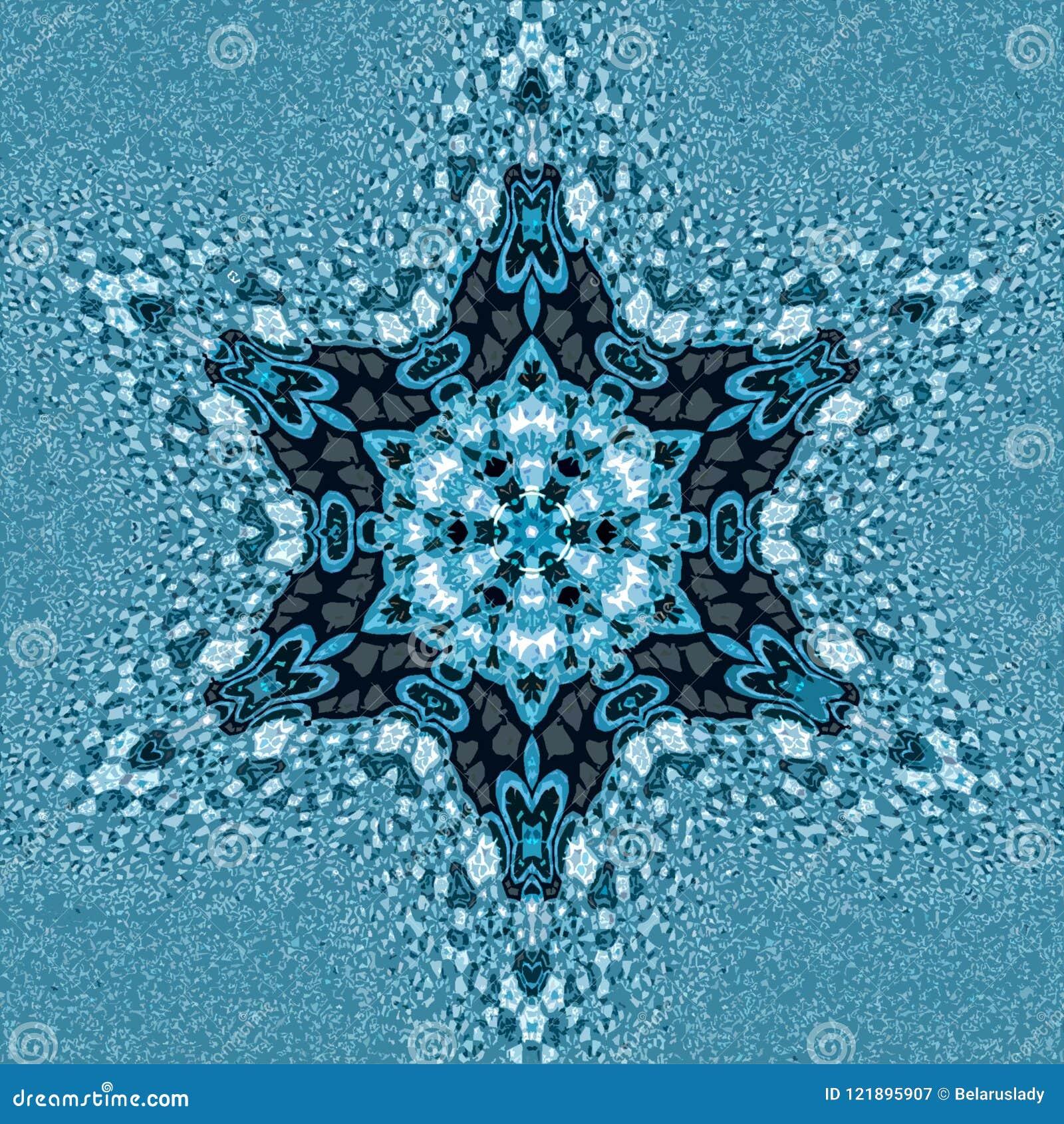 Mandala ornamentale del fiocco di neve di miracolo ed effetto di frattale nello stile russo