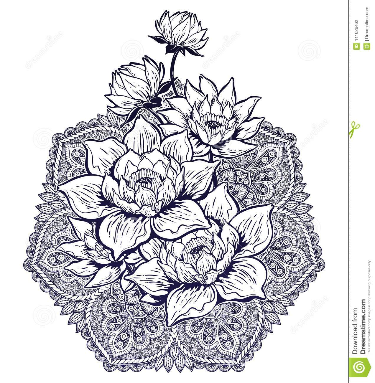 Mandala Paisley Round Pattern With Lotus Flower Stock Vector