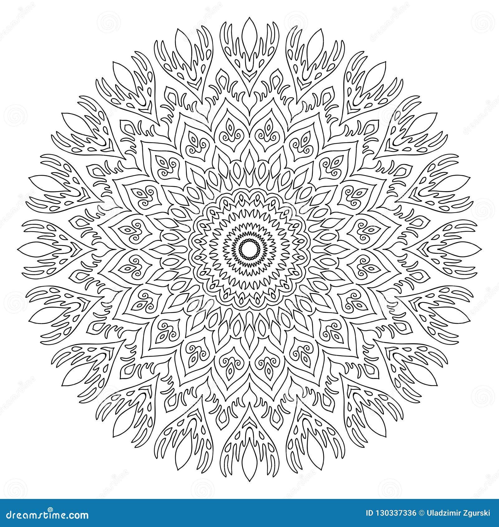 Mandala para la página del libro de colorear Orname redondo decorativo del extracto