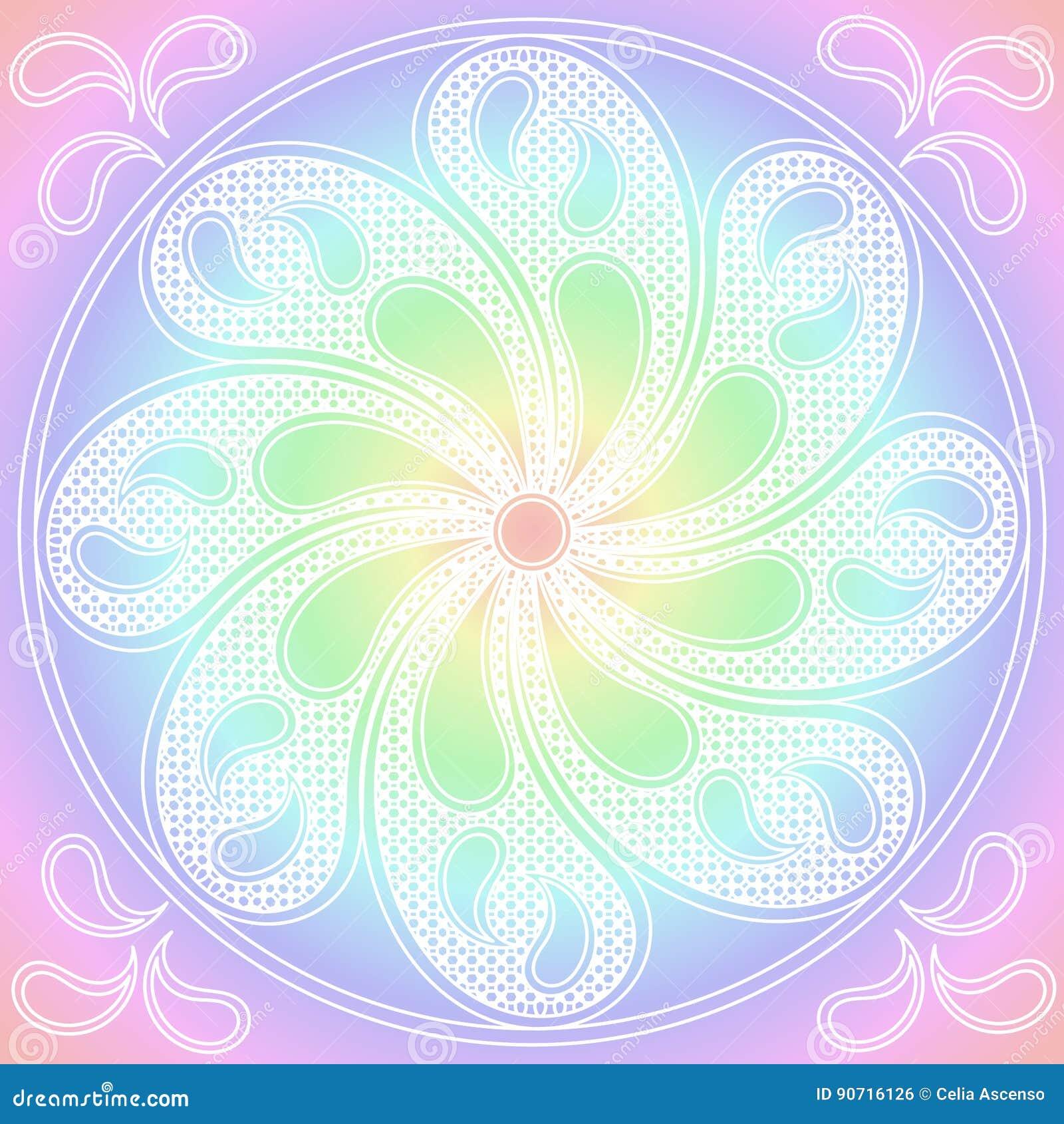 Mandala Pastel Colours Round Ornament Stock Illustration