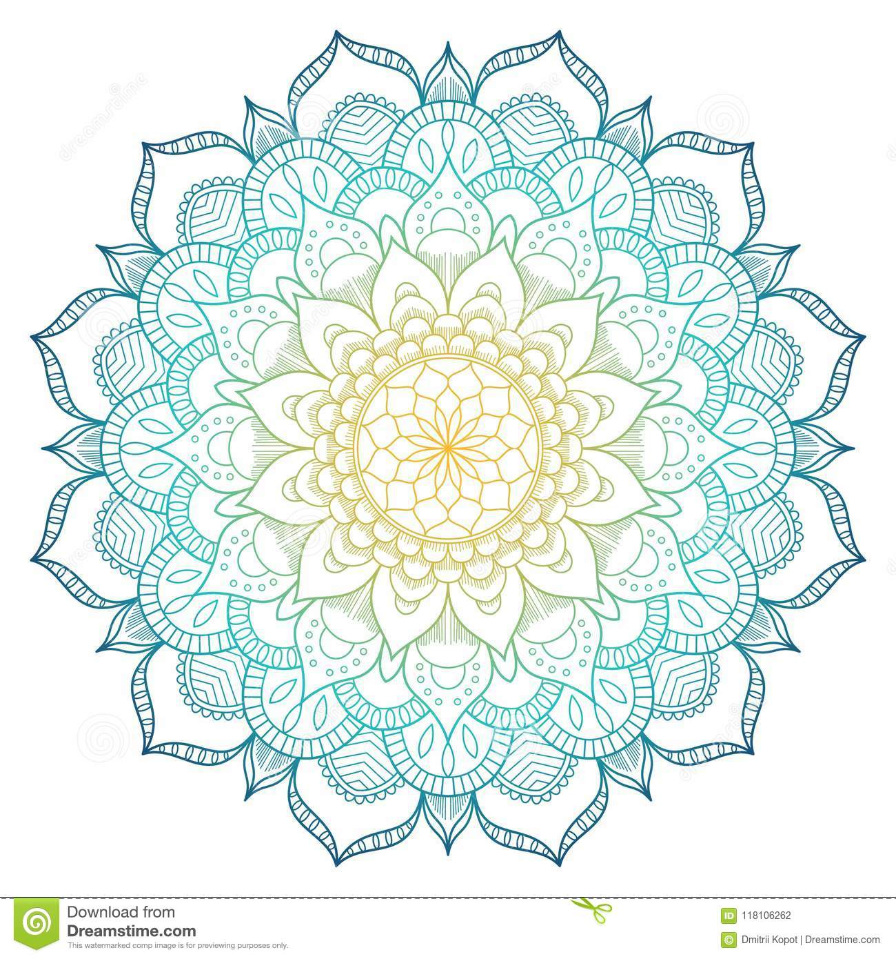 Mandala pattern colored background. Vector illustration. Meditation element for India yoga. Ornament for decorating a