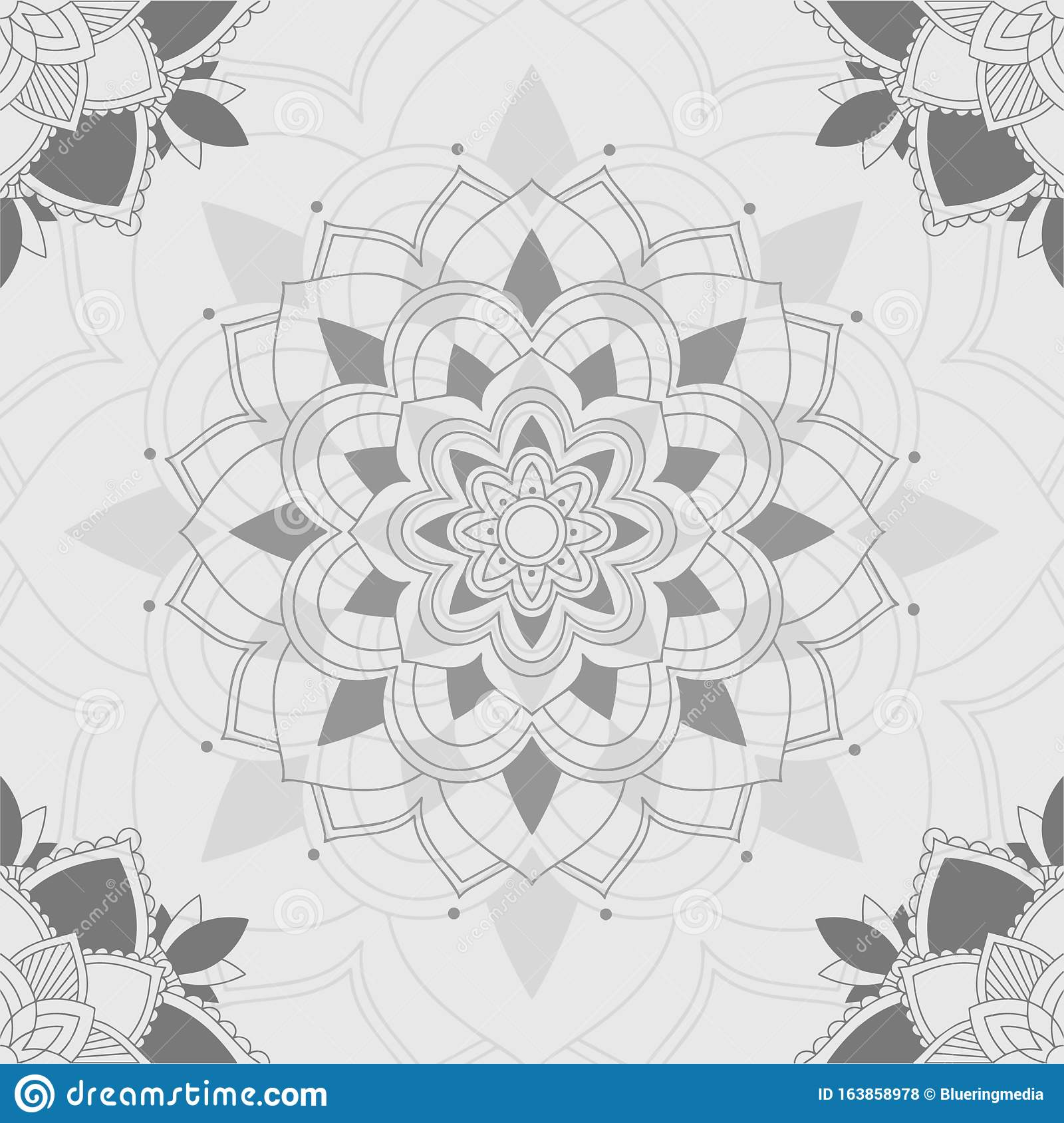 Mandala Patterns On Gray Background Stock Vector Illustration Of Card Colour 163858978