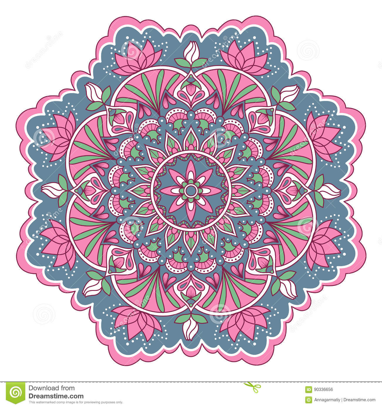 Mandala In Pink And Blue Colors Stock Vector