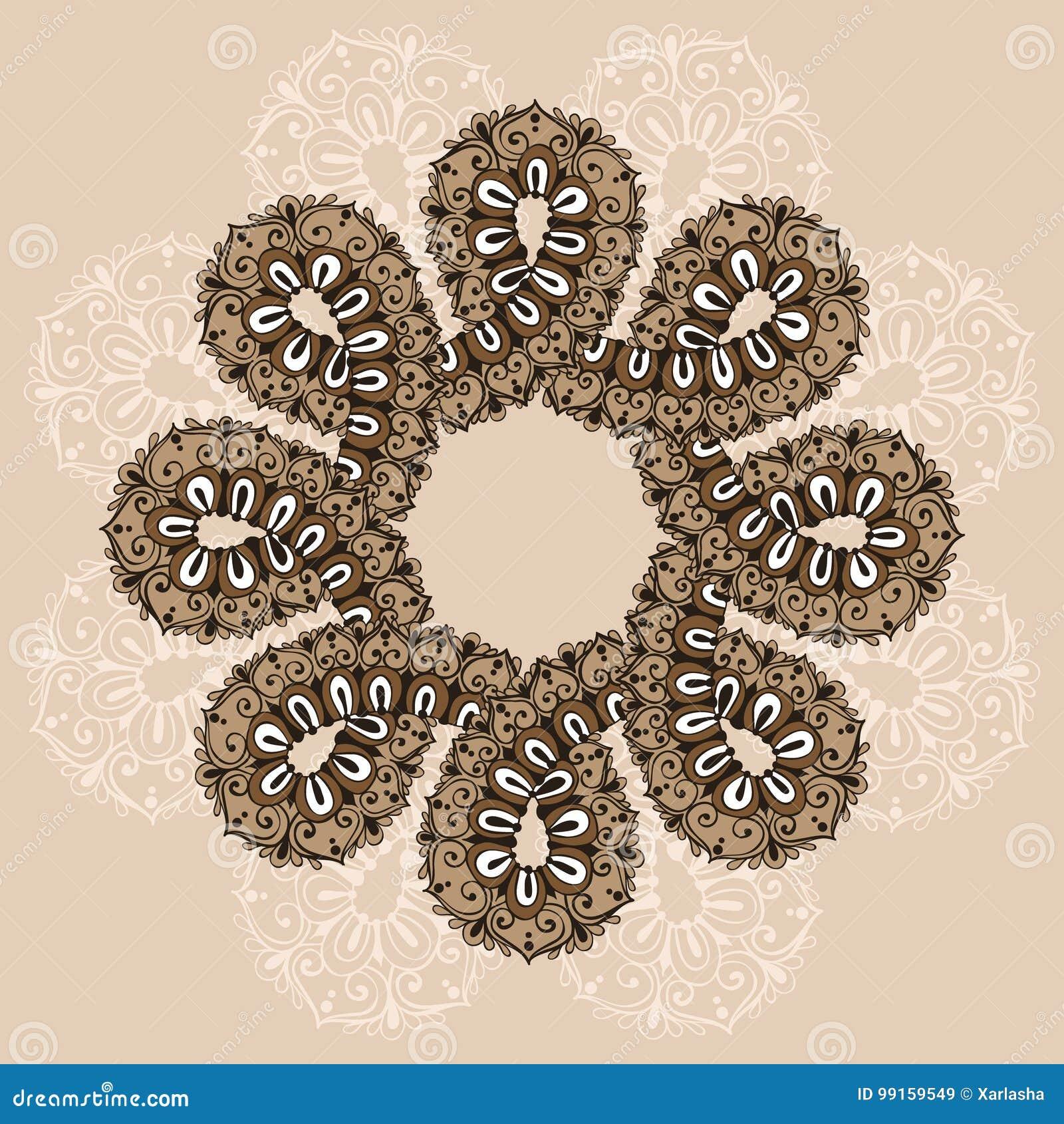 Mandala Plantilla Del Ornamento Del Infinito En Estilo Del Garabato