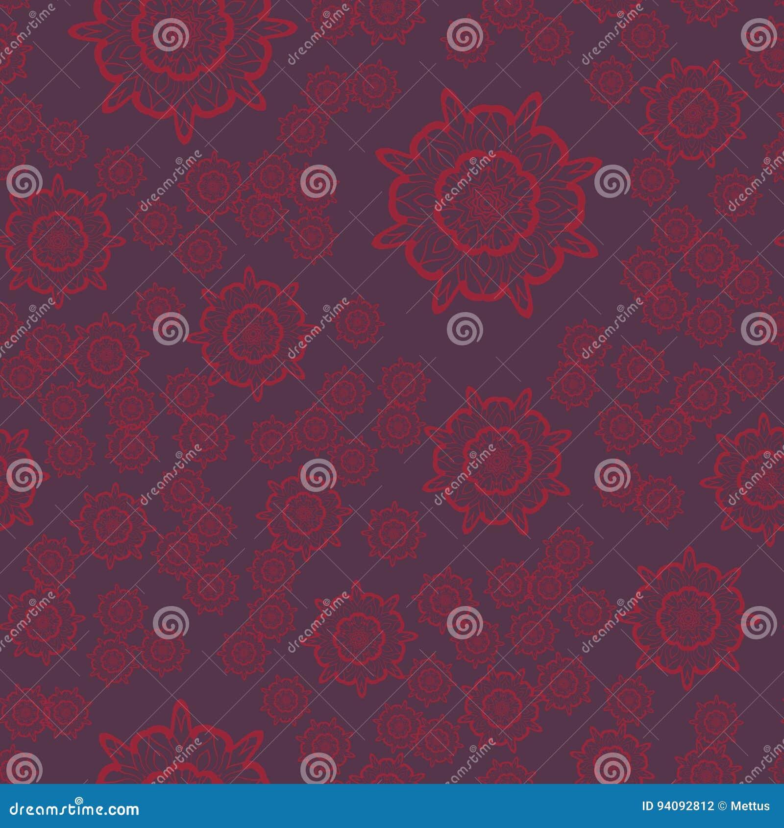Coloriage Fleur Ms.Mandala Pourpre Sans Couture De Fleur Pour La Copie Sur Le Textile