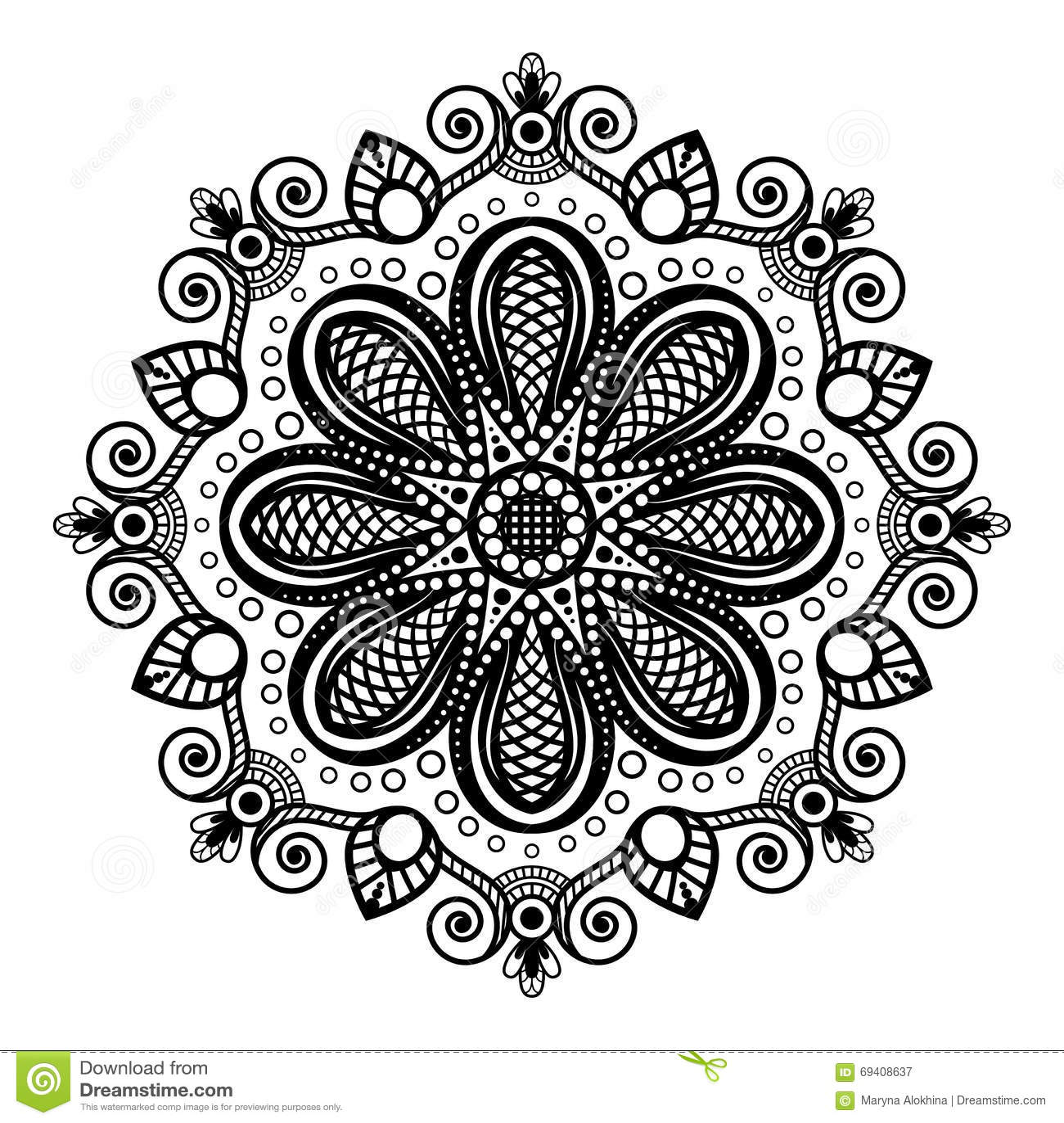mandala preta da tatuagem no fundo branco no estilo indiano do mehndi da hena ilustra u00e7 u00e3o do