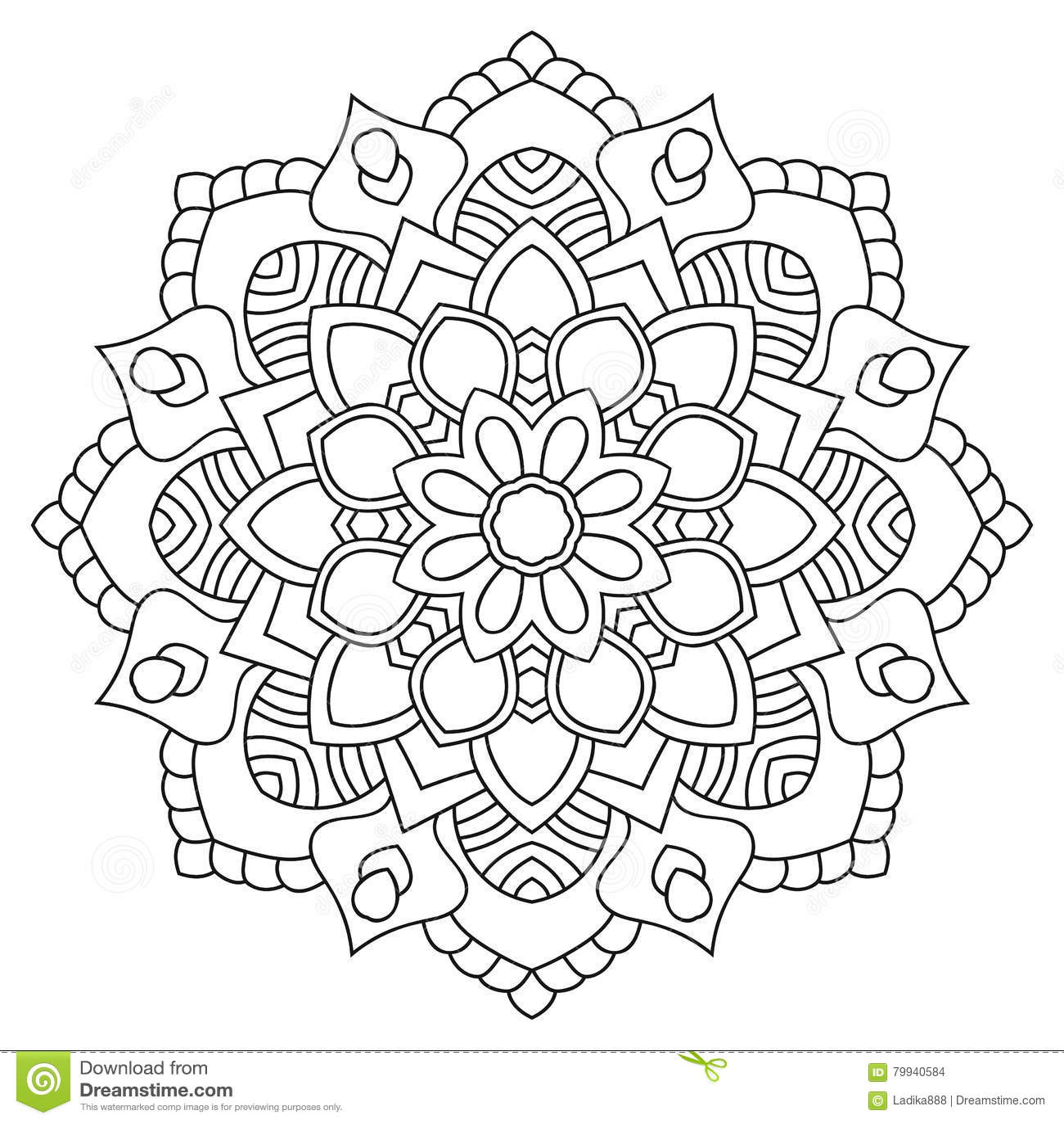 Coloriage Mandala Rond.Mandala Rond D Ensemble Pour Livre De Coloriage Cru Decoratif