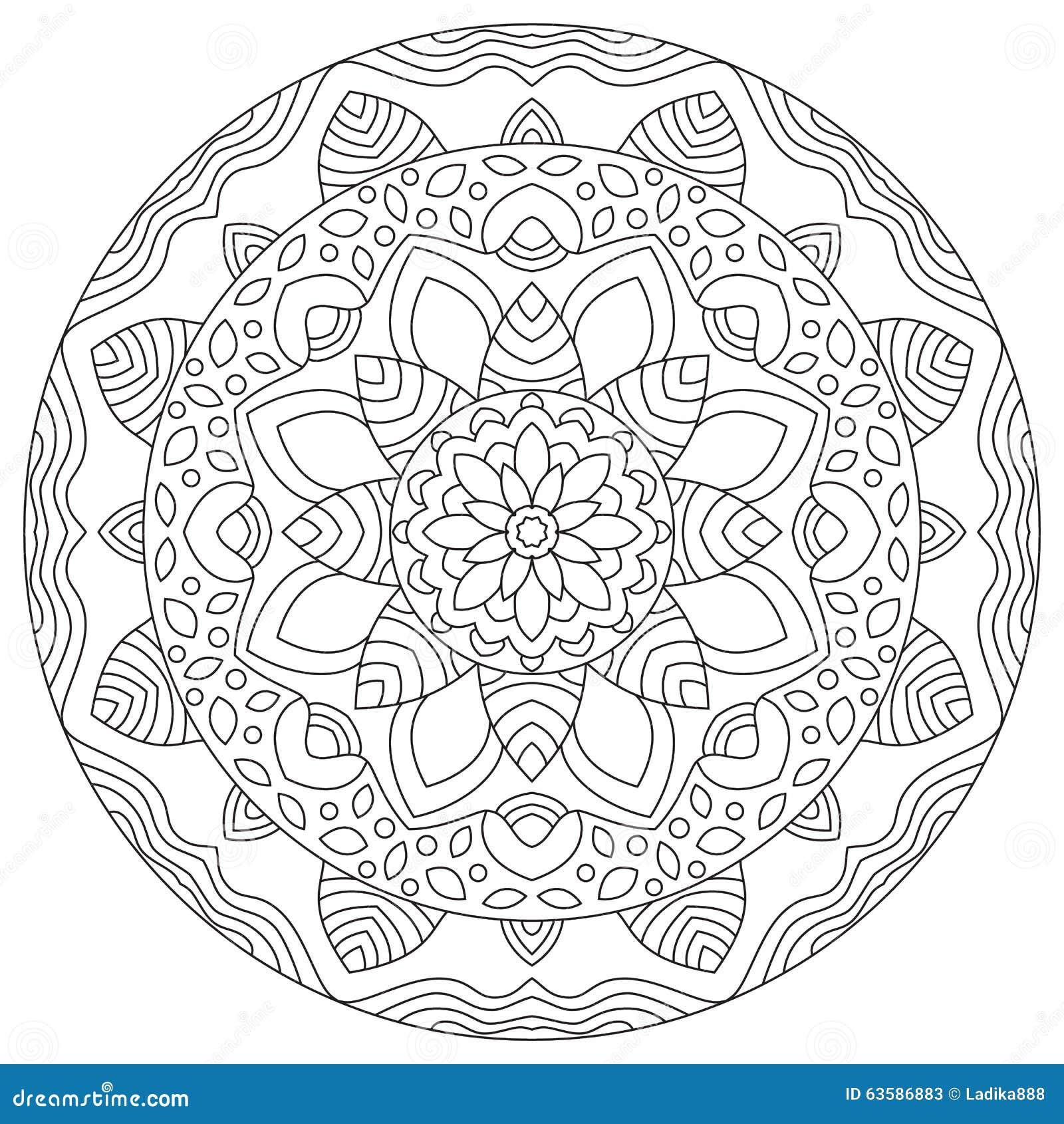 Mandala rond g om trique de mod le illustration de vecteur - Modele de mandala ...
