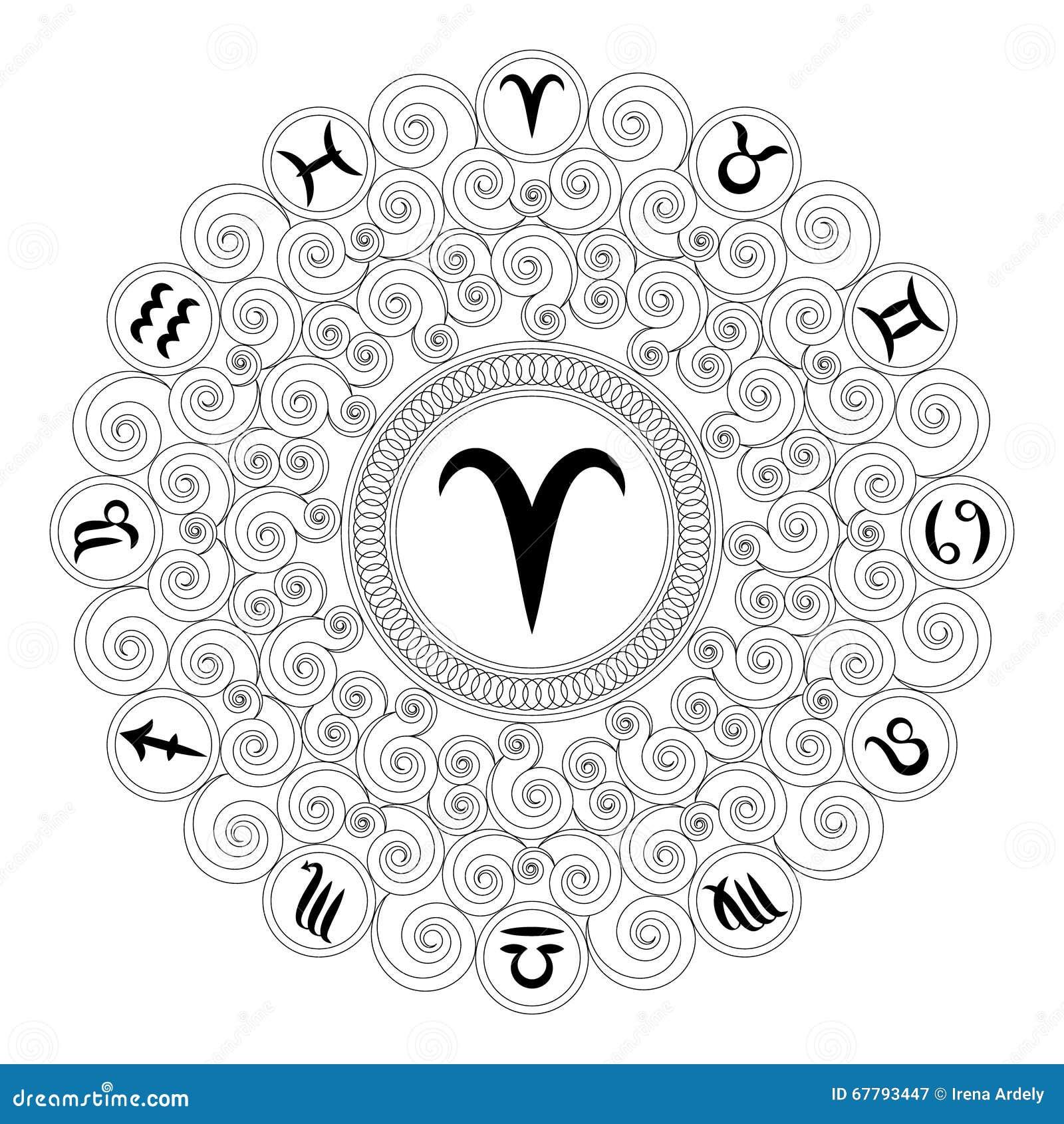 Coloriage Adulte Blanc.Mandala Rond Noir Et Blanc Avec Le Symbole De Zodiaque Du Belier