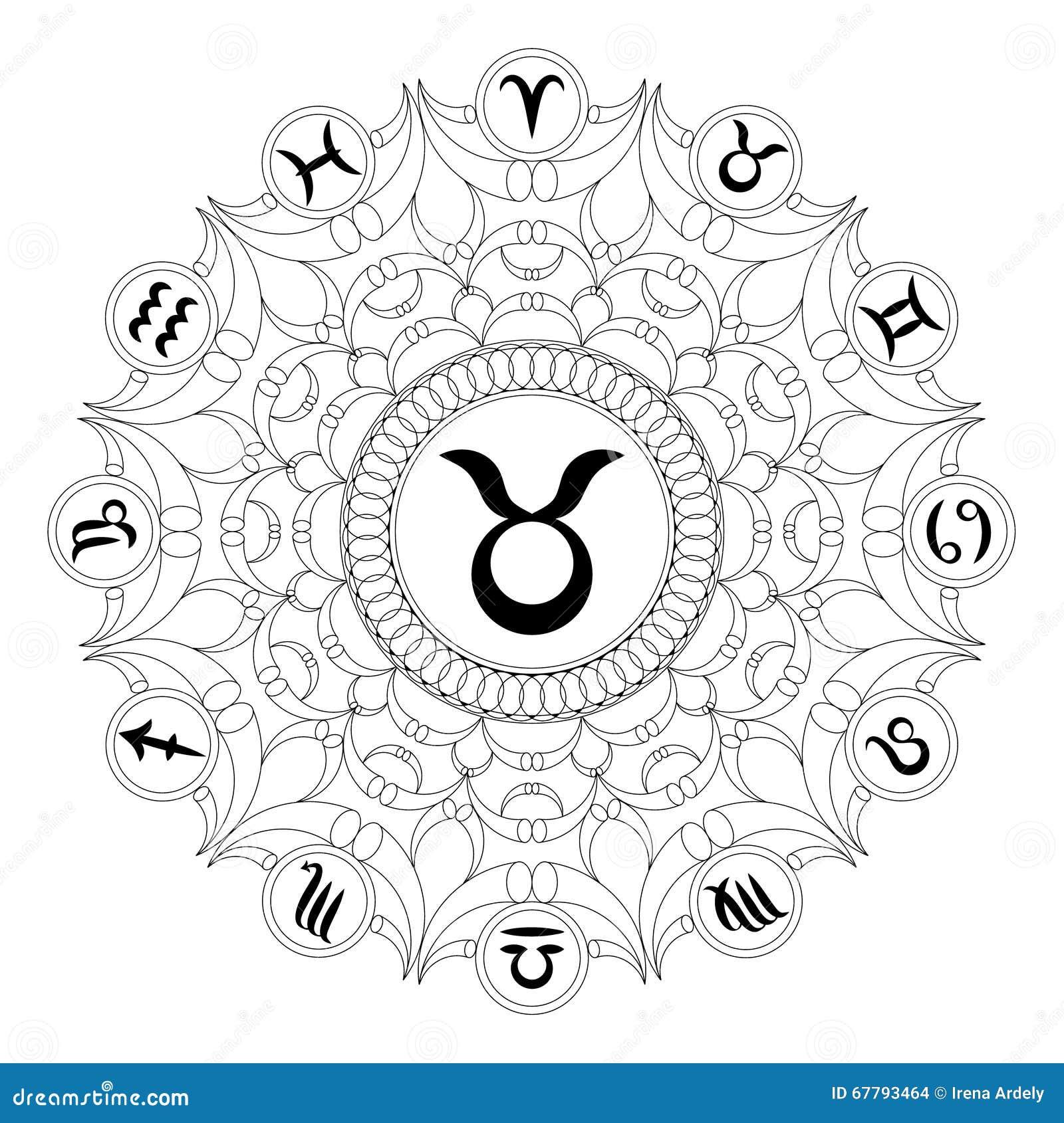 Mandala Rond Noir Et Blanc Avec Le Symbole De Zodiaque Du Taureau