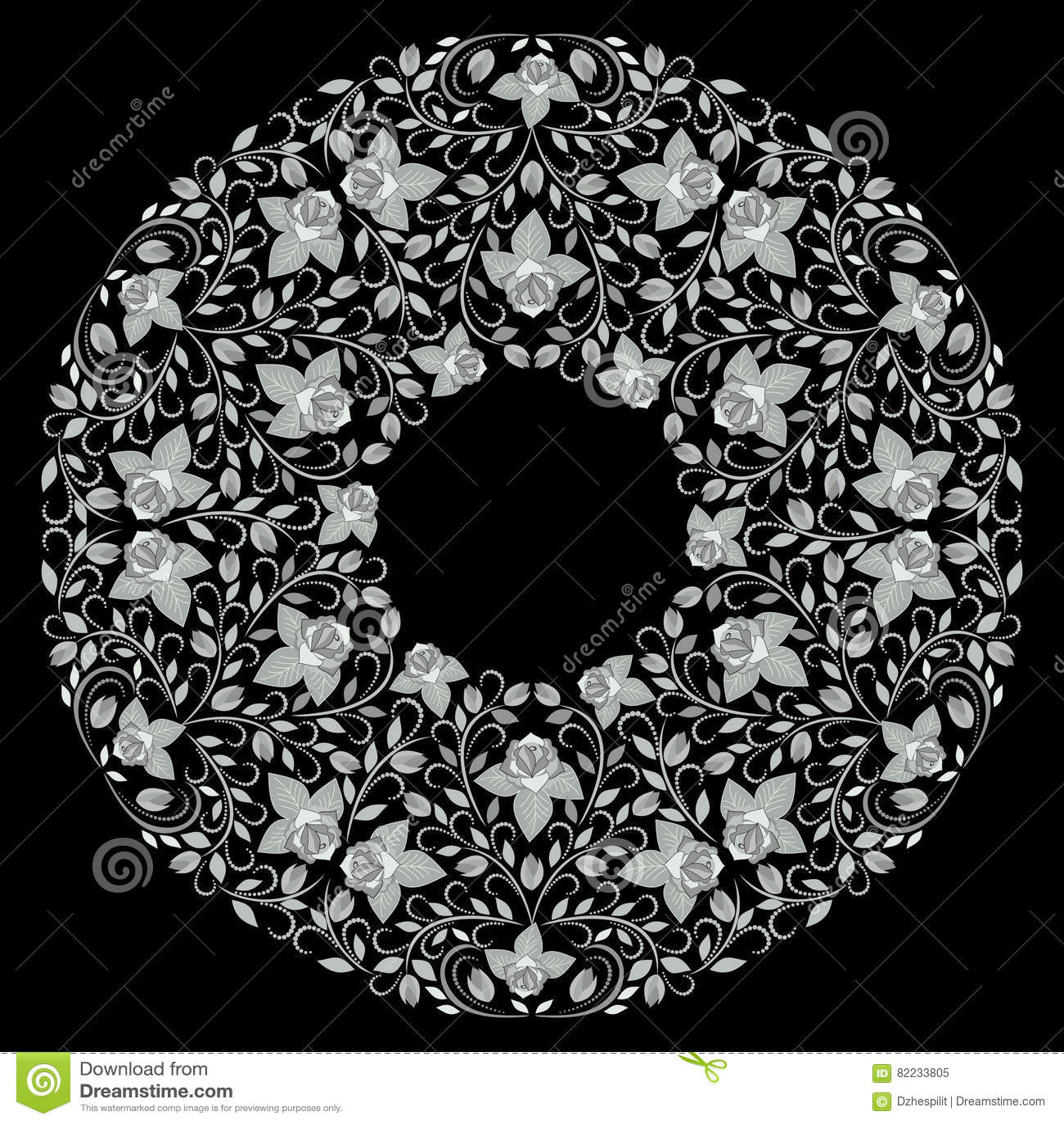 Mandala rose design black and white ornamental bohemian round pattern