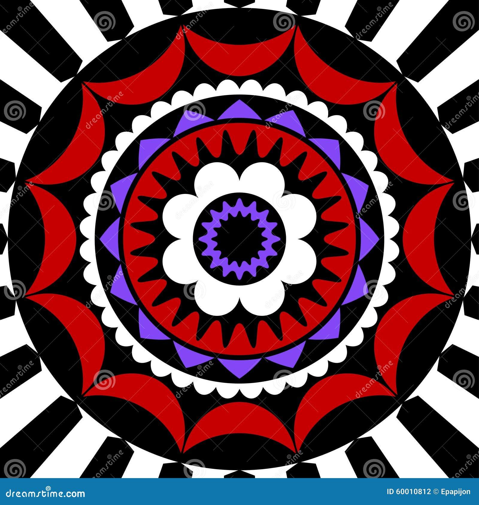 mandala rouge pourpre blanc et noir illustration de. Black Bedroom Furniture Sets. Home Design Ideas