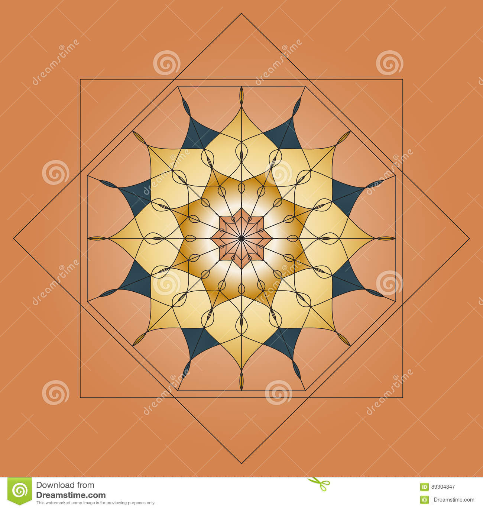mandala round ornament element for design on beige background