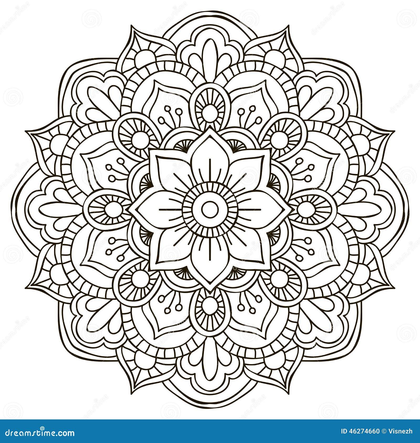 Mandala Round Ornament Stock Illustration Illustration