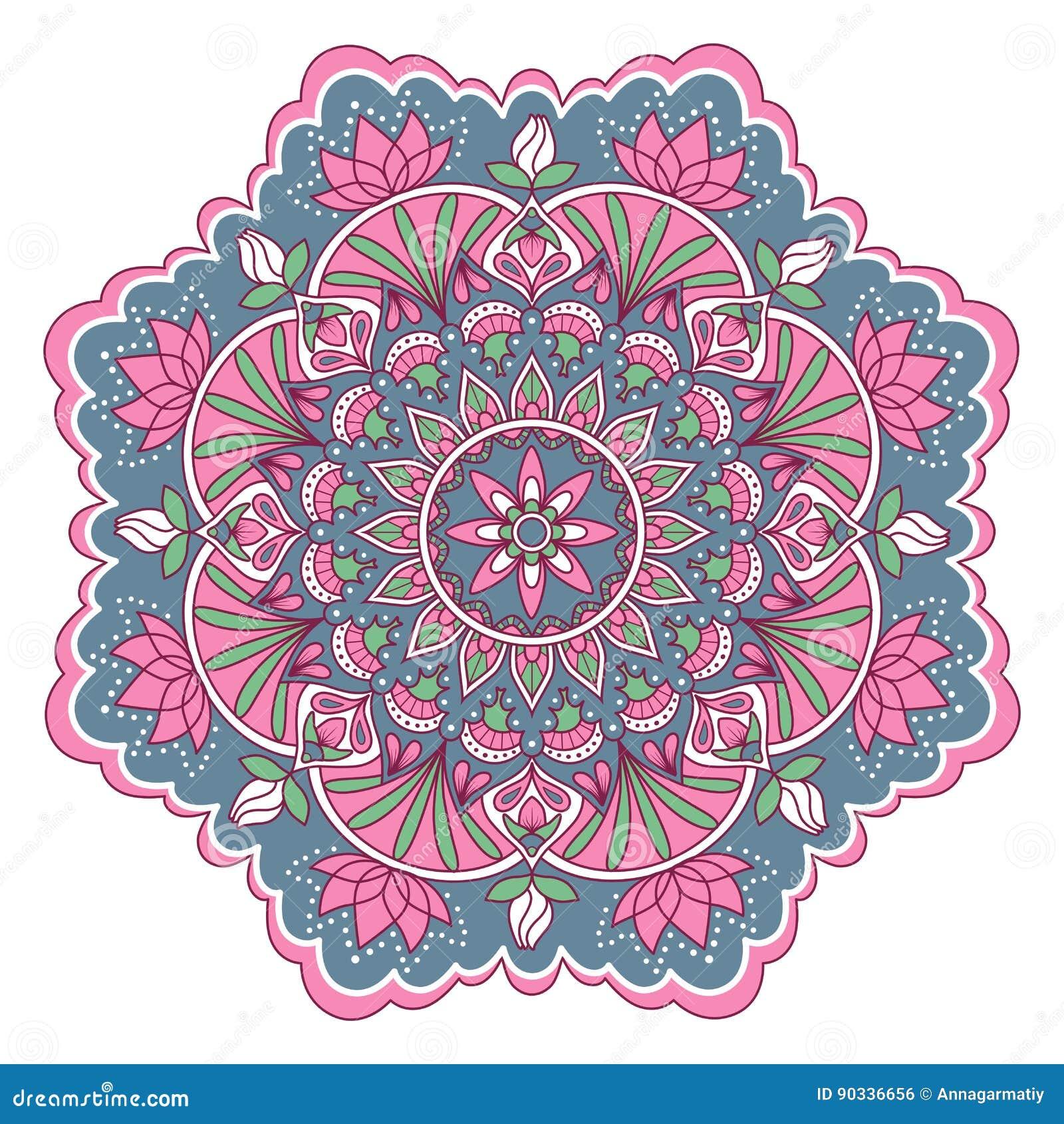 Mandala In Roze En Blauwe Kleuren Vector Illustratie Illustratie