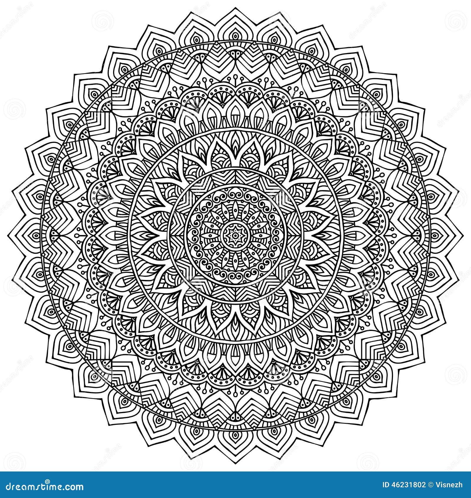 mandala rundes verzierungs muster vektor abbildung illustration von henna identit t 46231802. Black Bedroom Furniture Sets. Home Design Ideas