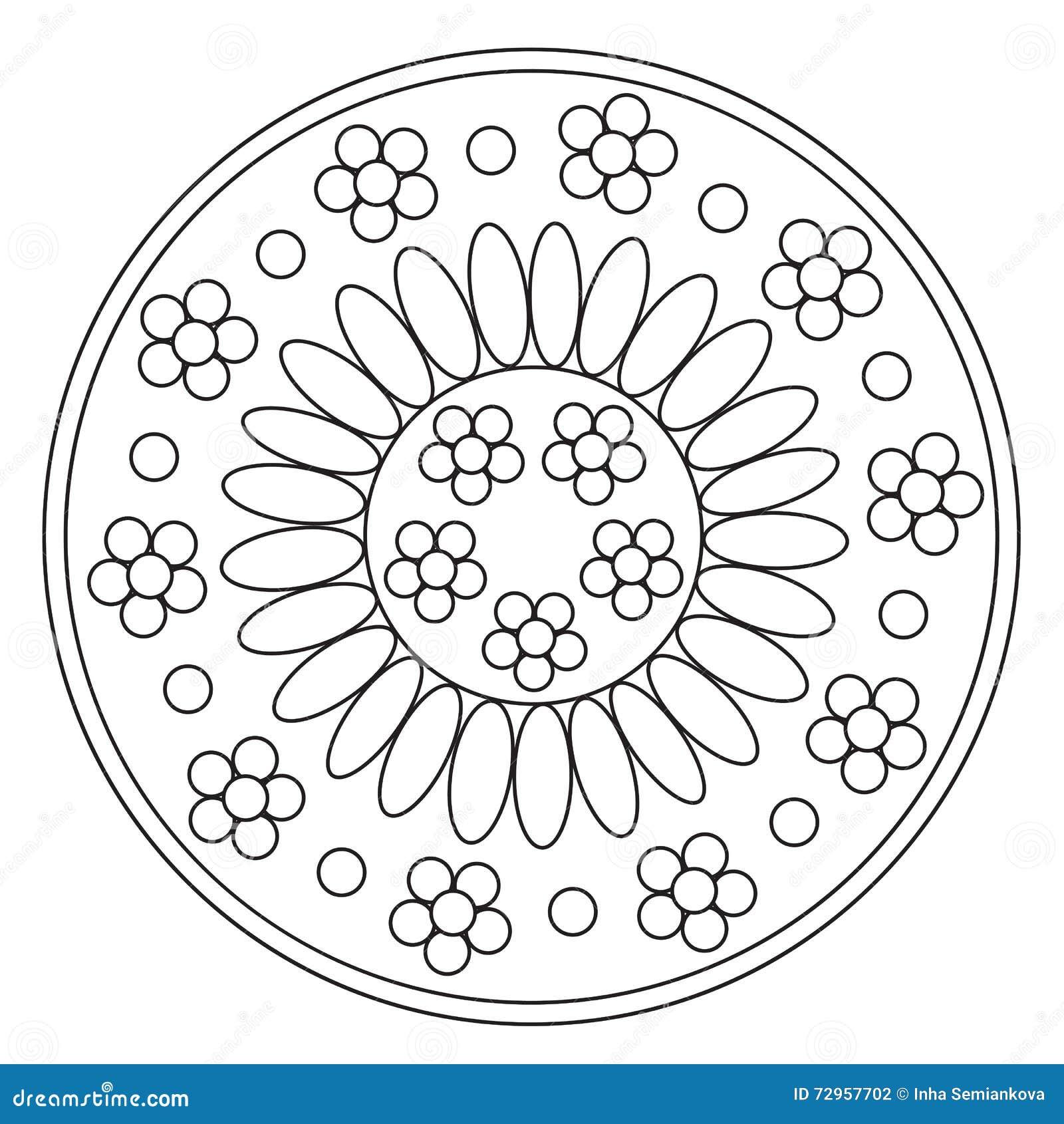 Mandala semplice di coloritura della camomilla