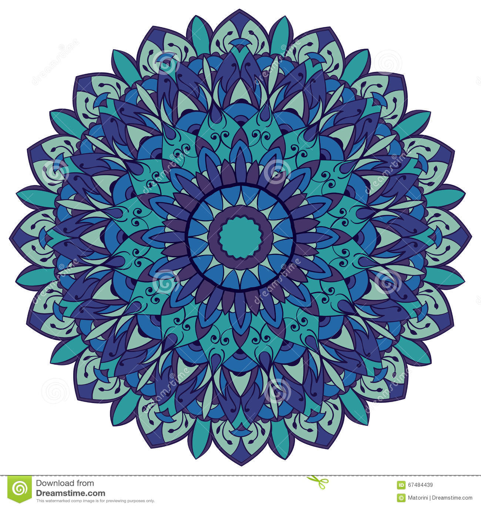 Mandala In Shades Of Blue Stock Vector Image 67484439
