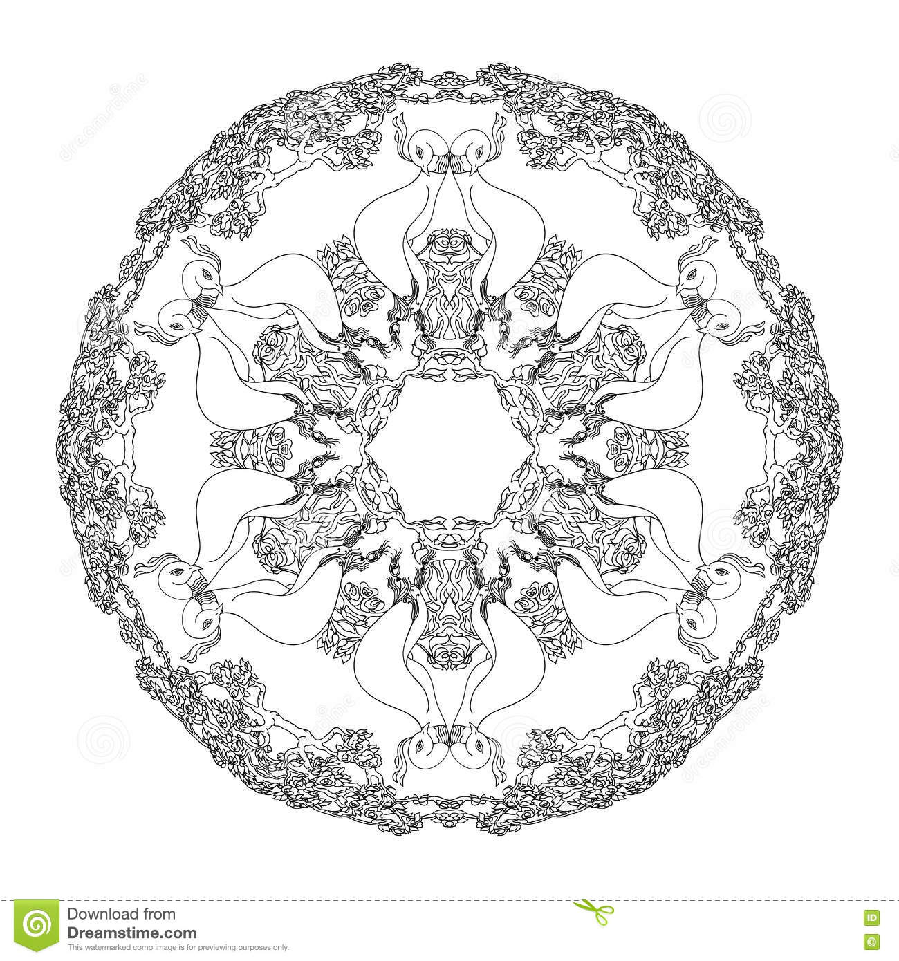 Mandala Shaped Contoured Birds Flowers Leaves And Floral Decorative Elements Stock Vector