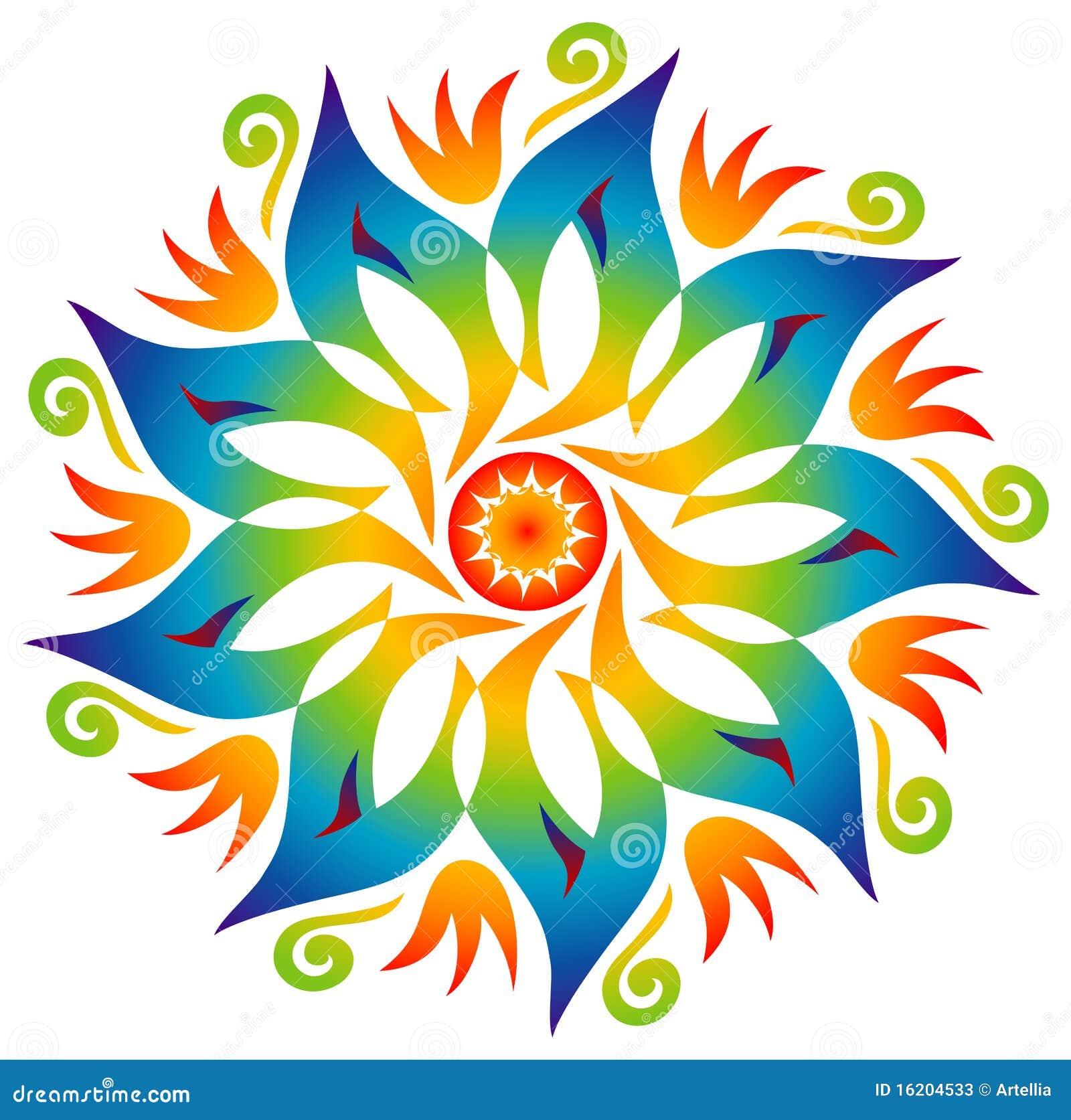 Mandala simple couleurs d 39 arc en ciel illustration de - Mandalas en colores ...