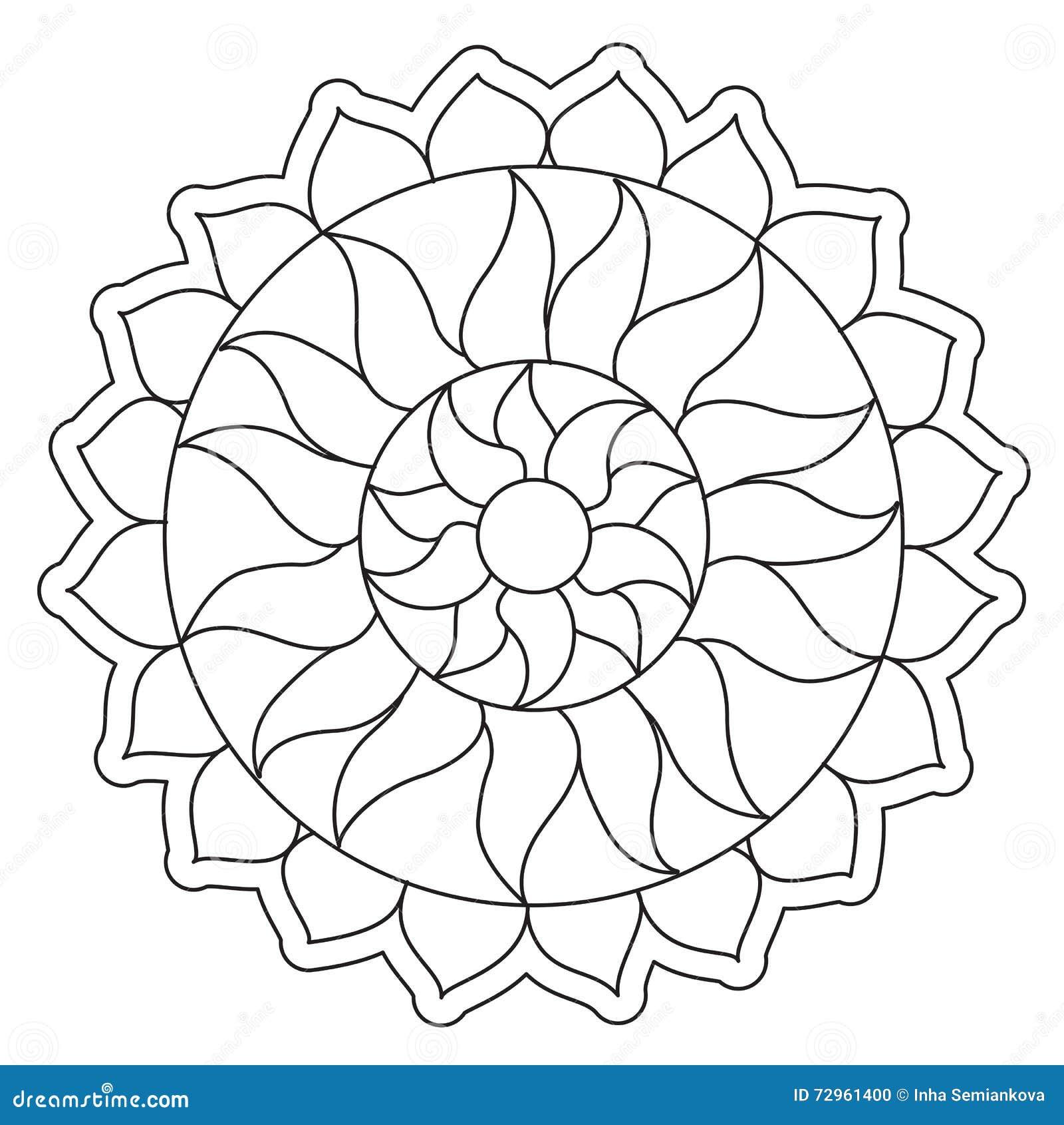 Mandala Simple De Coloration Sun Illustration