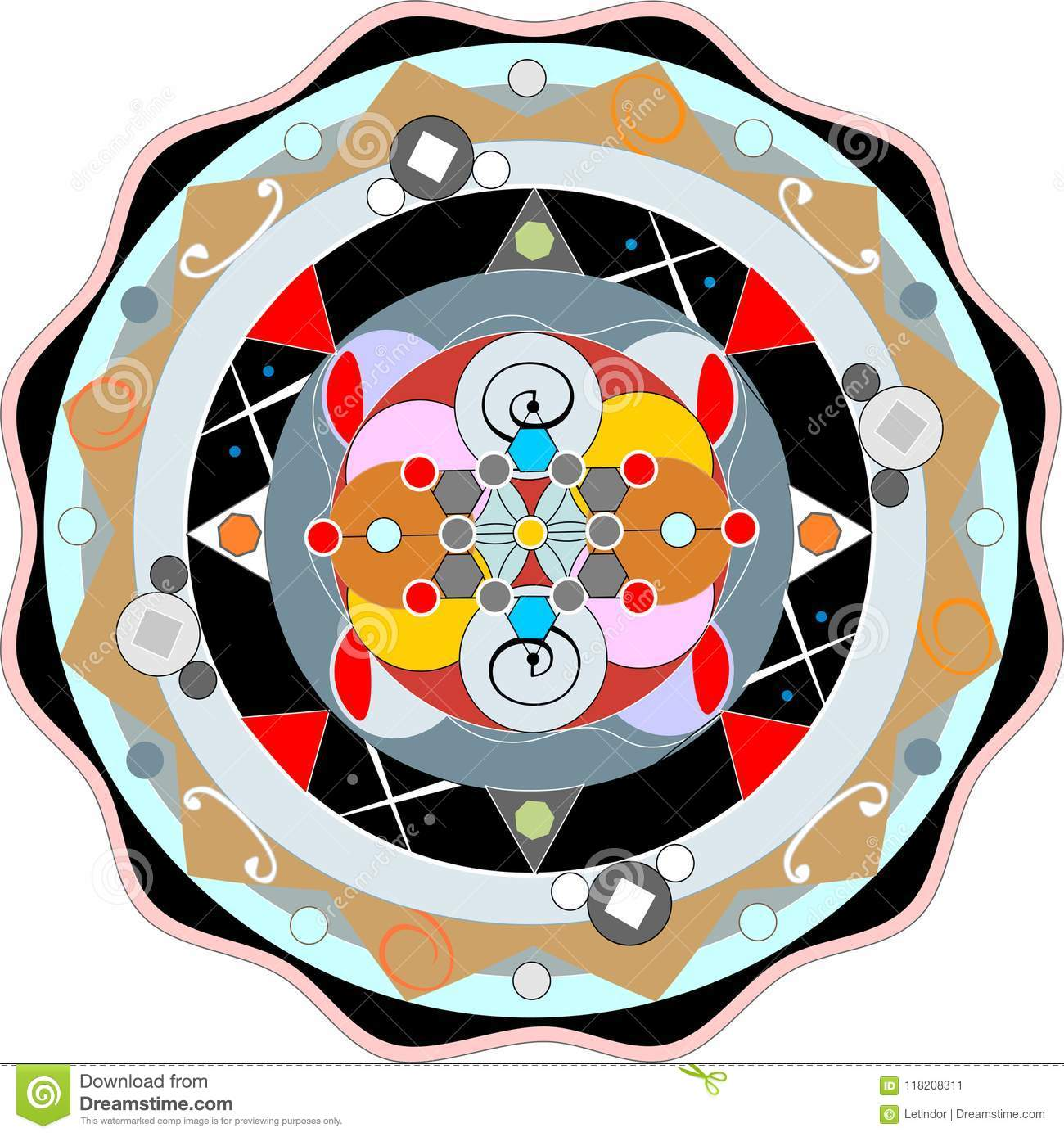 Color Mandala Symbol By The Eastern Religions Stock Vector