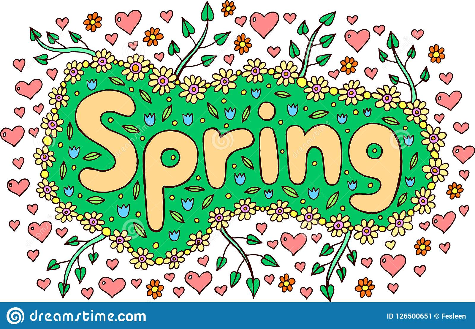 Mandala And Spring Word Doodle Lettering Colorful Artwork