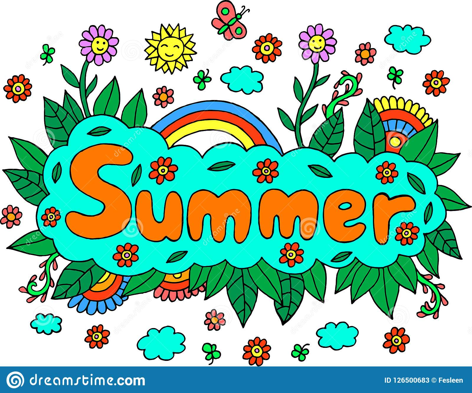 Mandala And Summer Word Doodle Lettering Colorful Artwork
