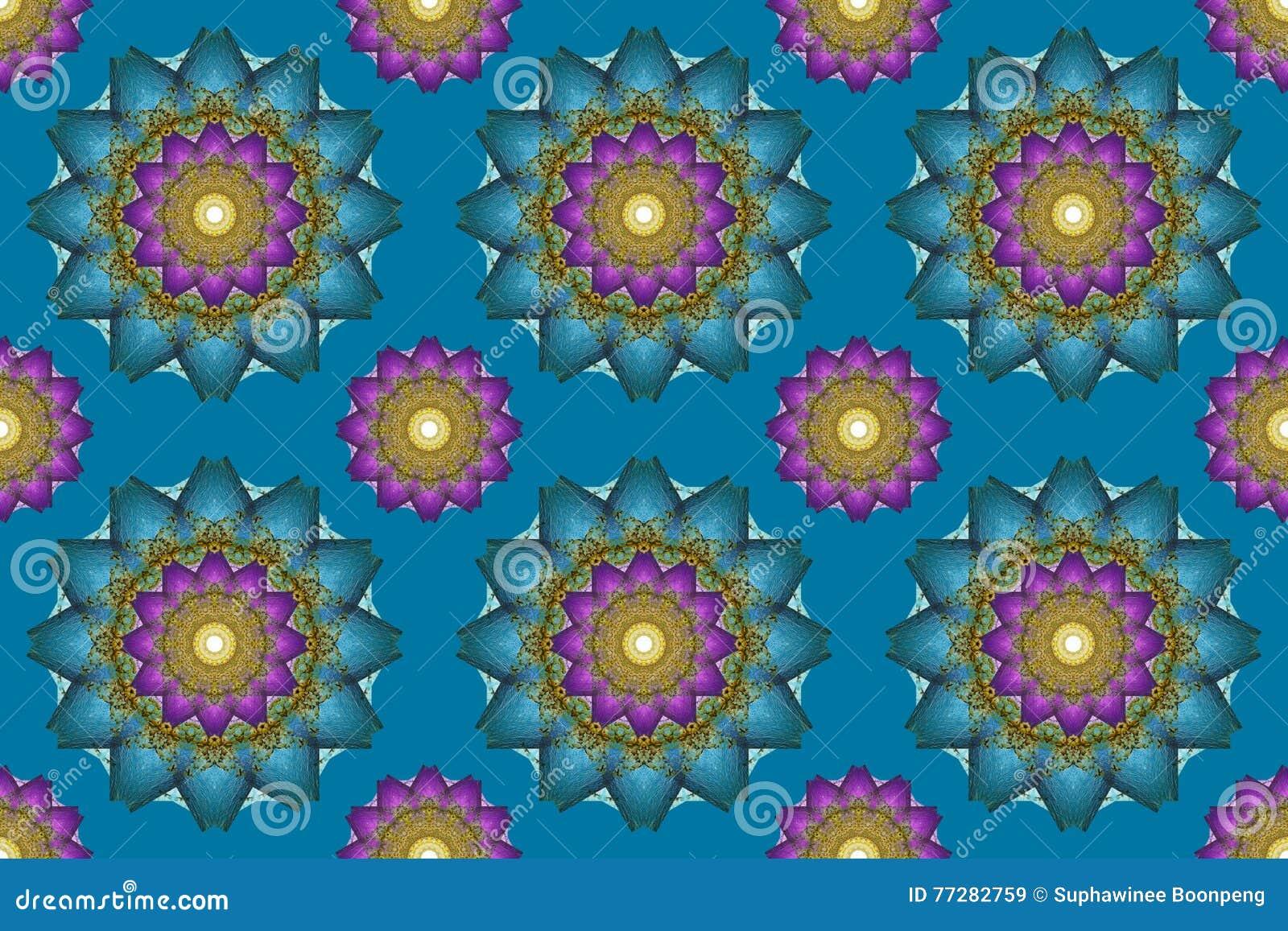 Mandala sztuka, kalejdoskopu Bezszwowy abstrakt kwitnie tapetowych półdupki