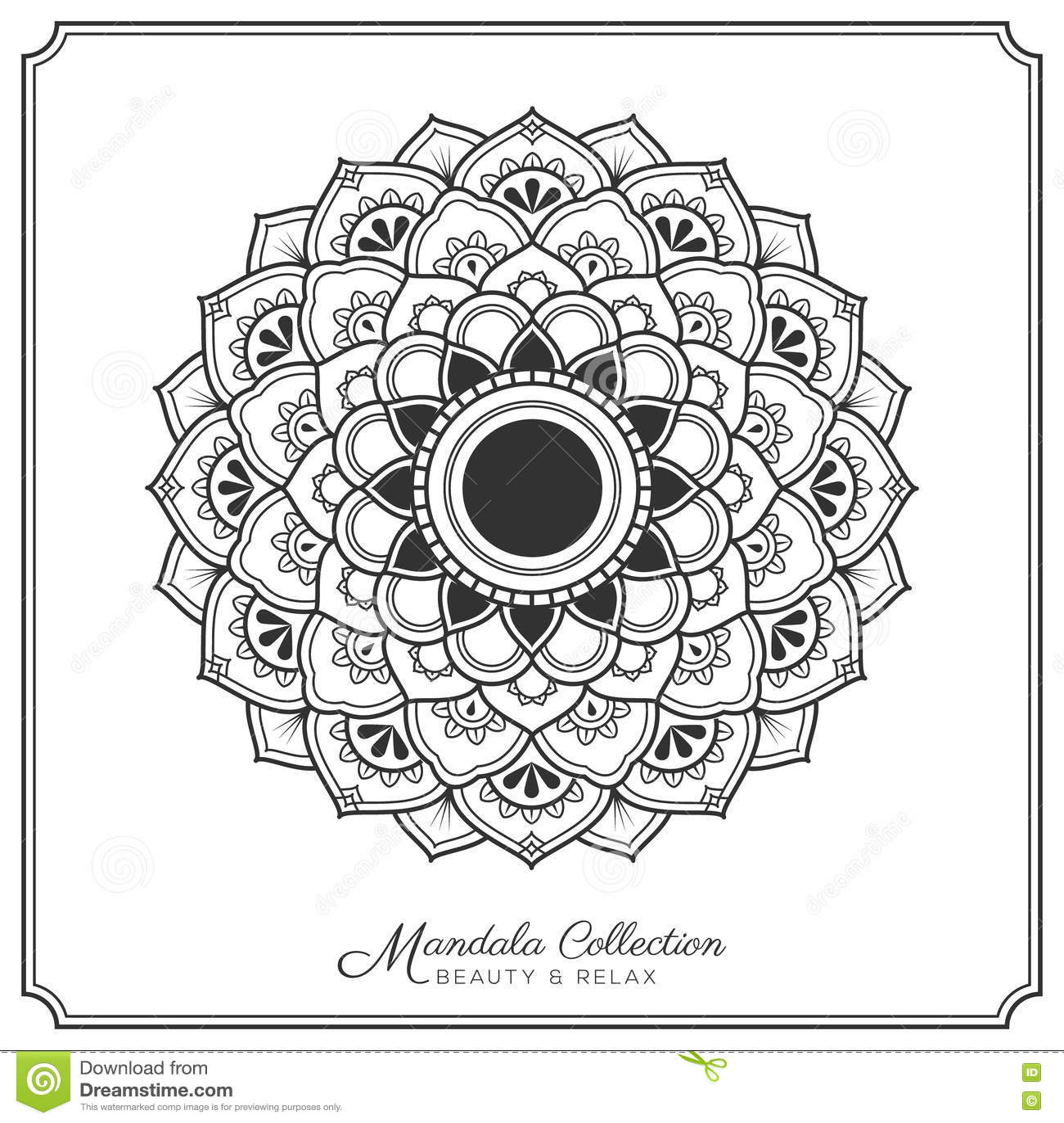Mandala Tattoo Design Template Stock Vector Illustration
