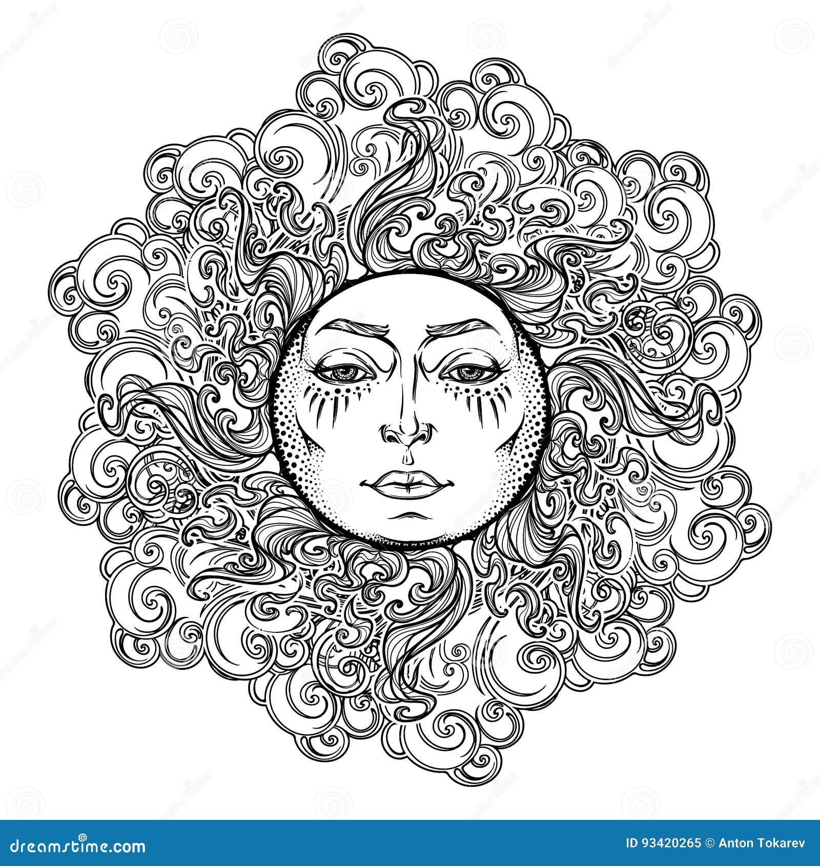 Mandala Tattoo  Fairytale Style Sun With A Human Face