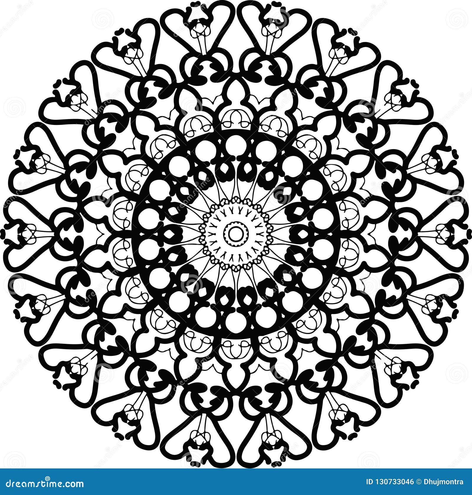Mandala Tatuaż W Pokoju Sercu Wokoło Gwiazdy W Czarny I