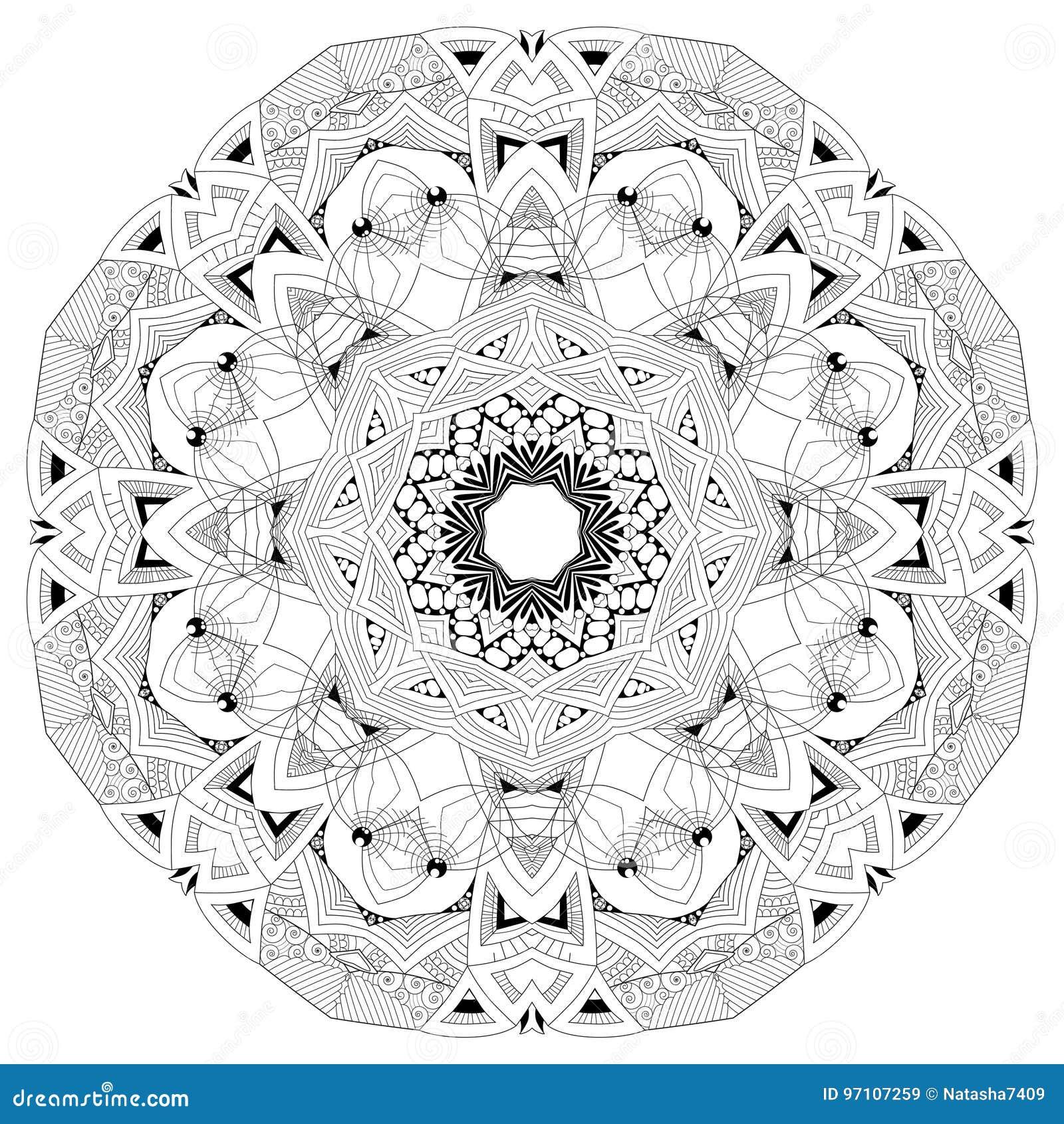 Mandala tiré par la main de zentangle pour la page de coloration