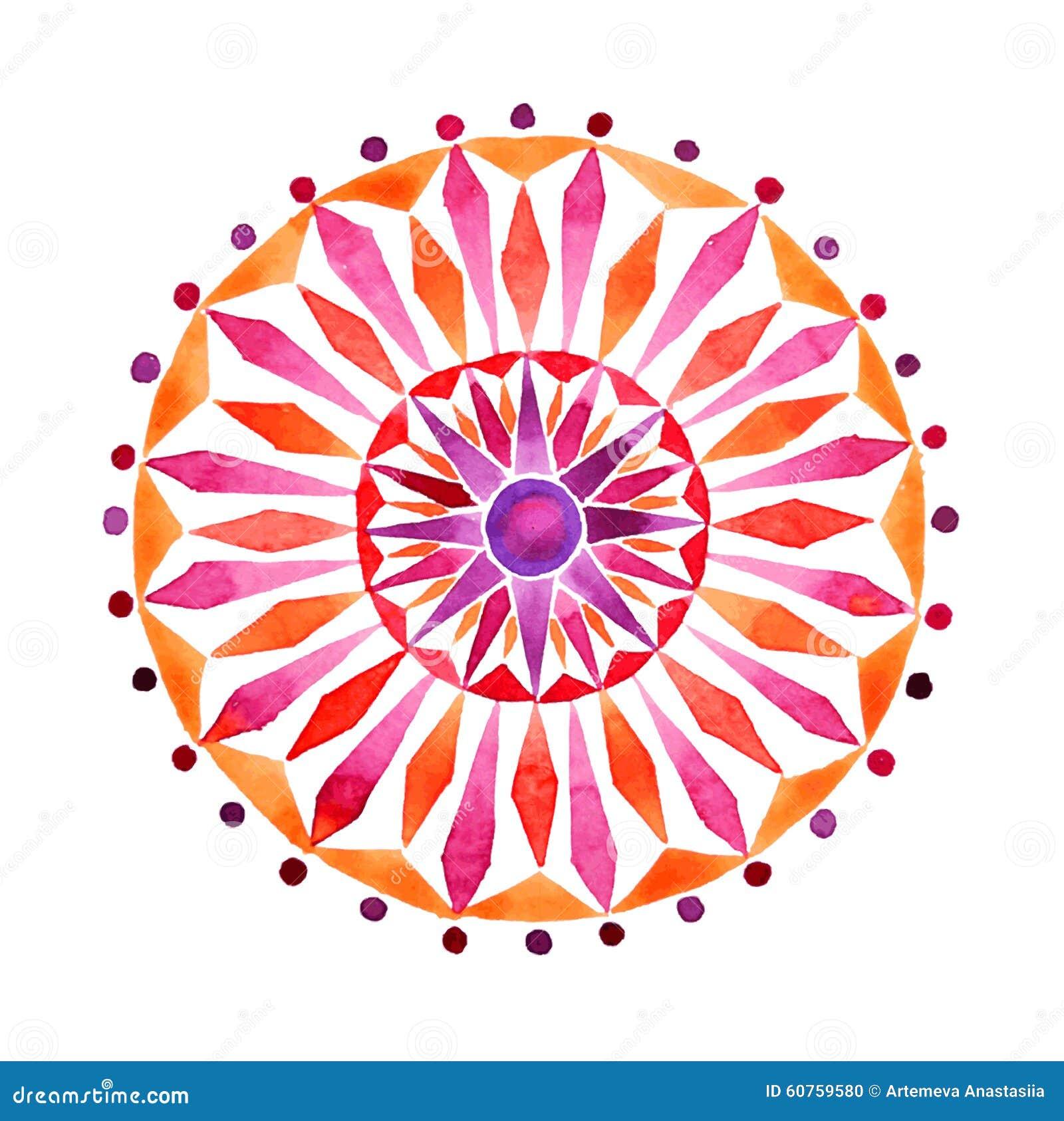 Mandala tirada mão na técnica das aquarelas