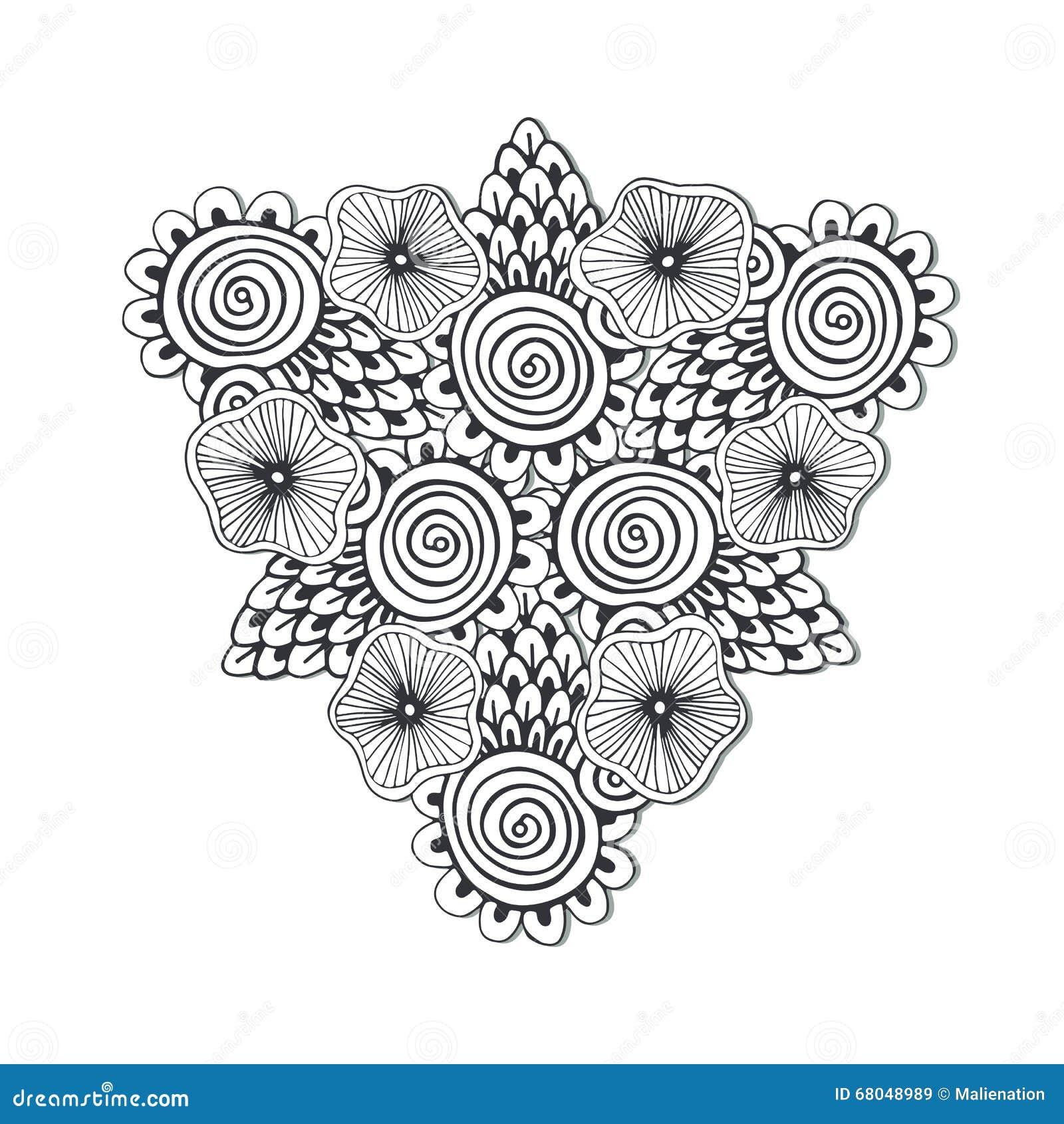 Mandala unica del triangolo con i fiori arte disegnata a - Immagini di colorare le pagine del libro da colorare ...