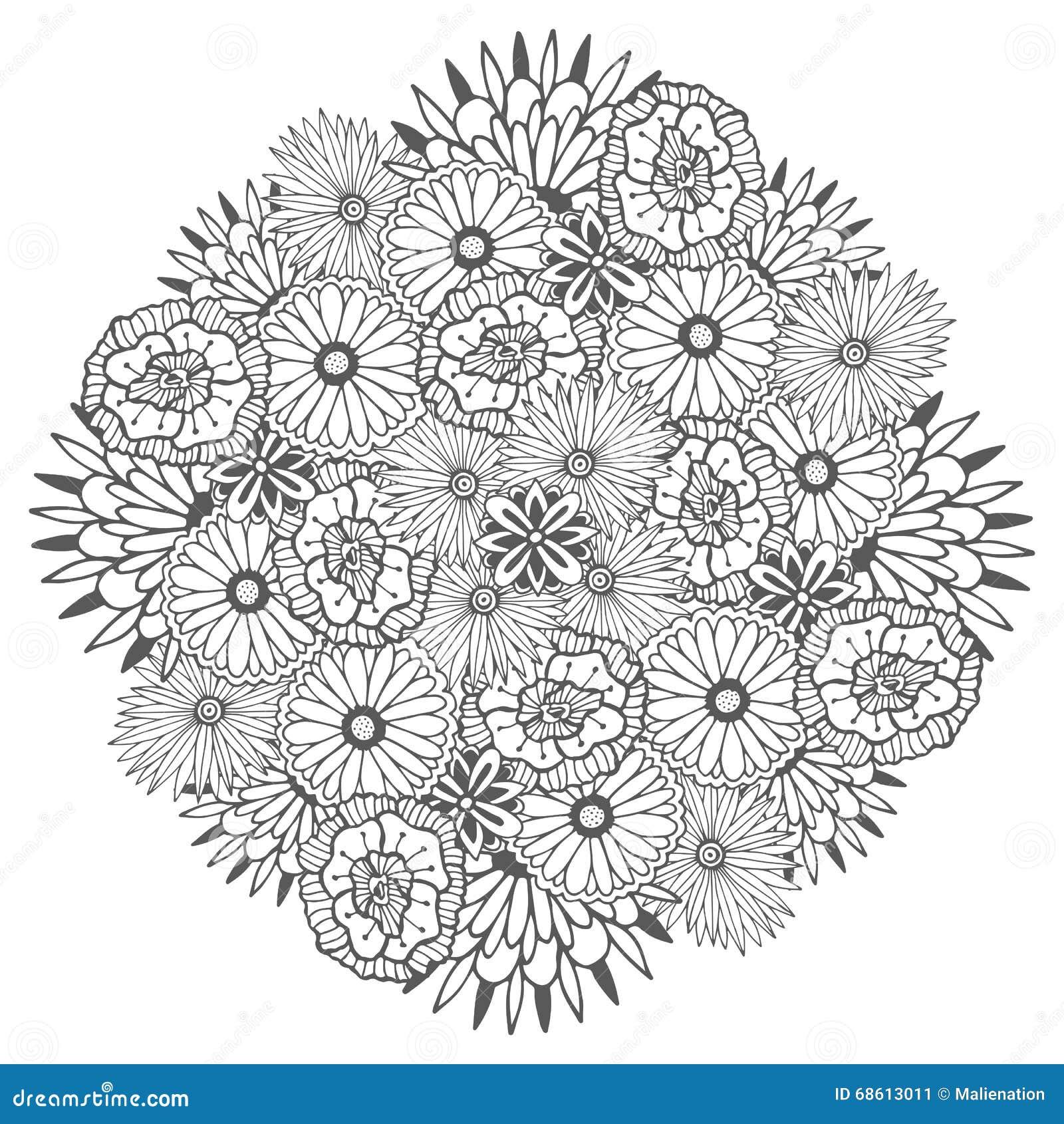 Mandala Unica Di Vettore Con I Fiori Zentangle Floreale Rotondo