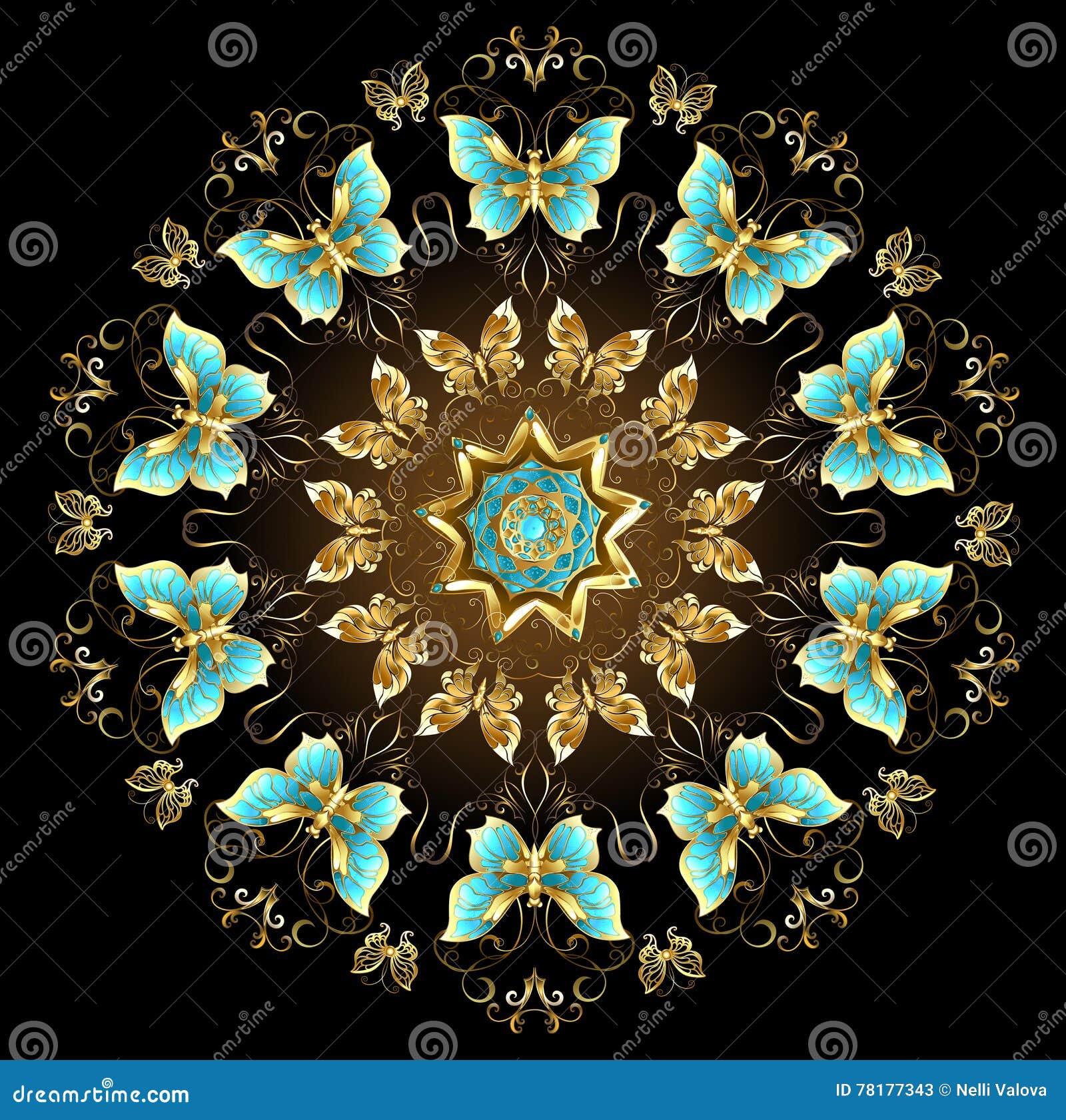 Mandala van gouden vlinders
