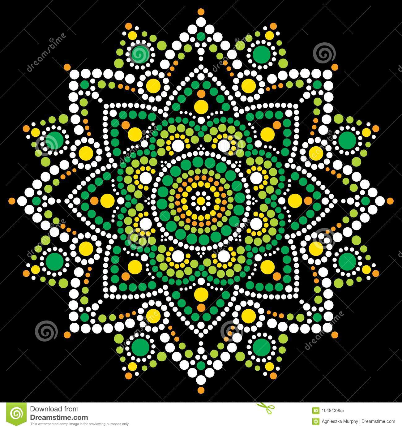 Abstract Mandala With Dots Circles Inspired By Australian Folk Art Geometric Composition Green And Orange On Black Background
