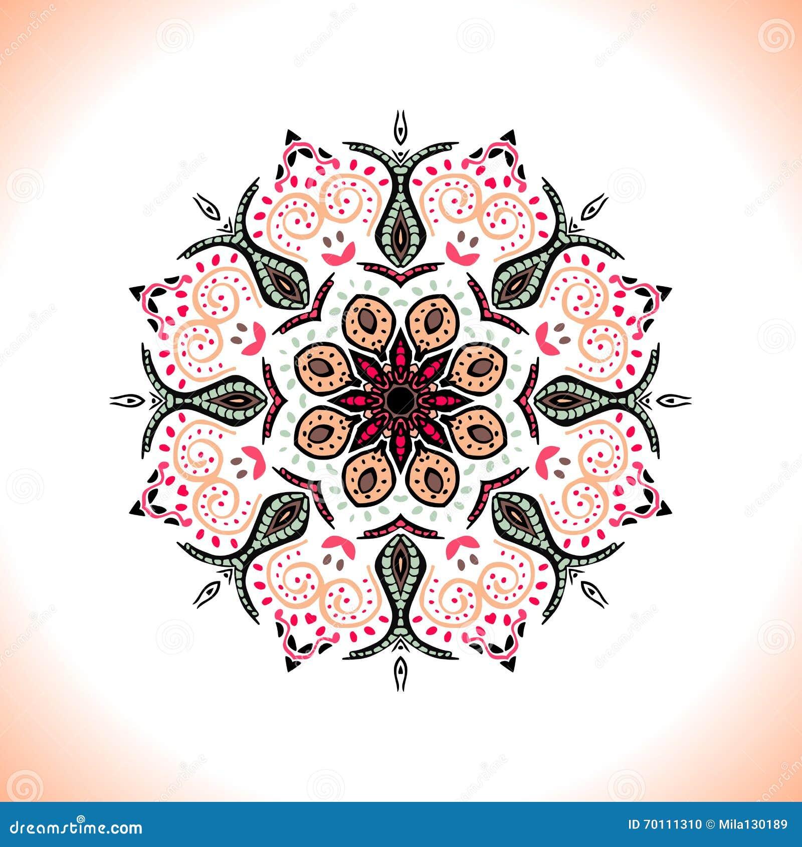 Mandala Vector el ornamento en colores del melocotón, elemento decorativo redondo para su diseño