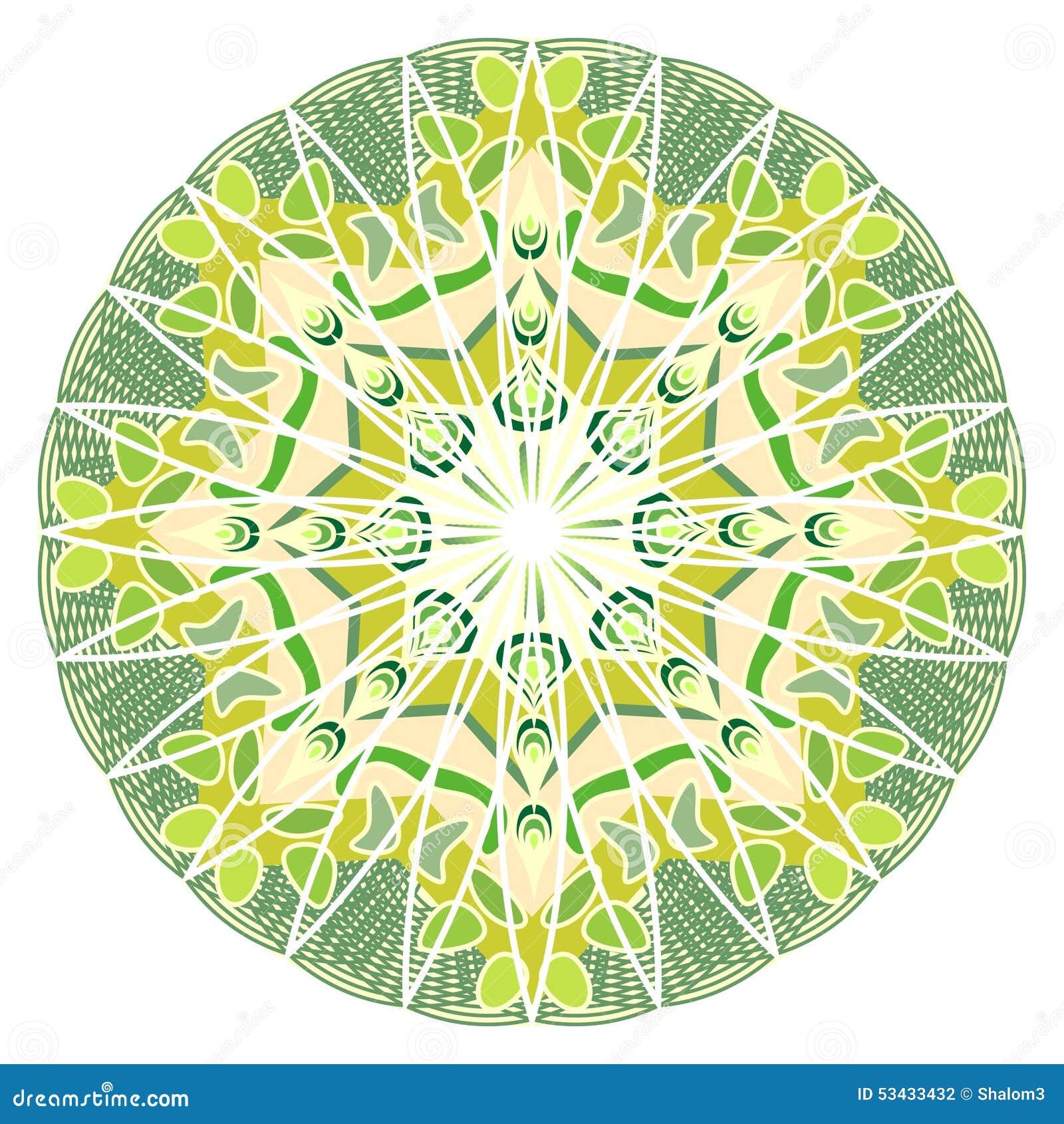 Mandala verde para a energia e o poder que obtêm, mandala para o treinamento da meditação